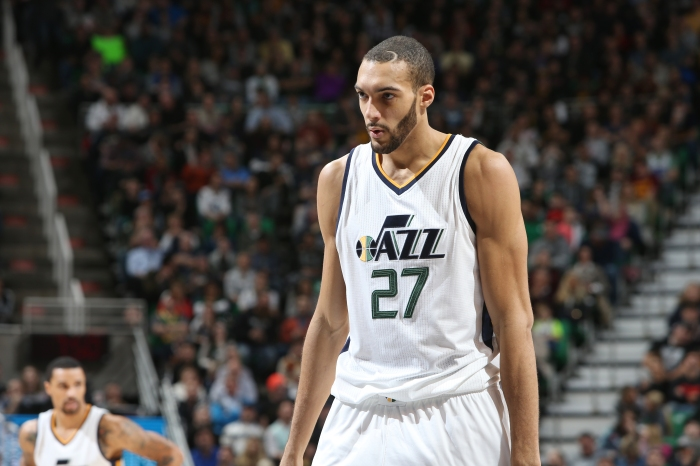 Rudy Gobert  27 of the Utah Jazz reacts to a play against the Cleveland  Cavaliers during the game on January 10 0feb54ce1