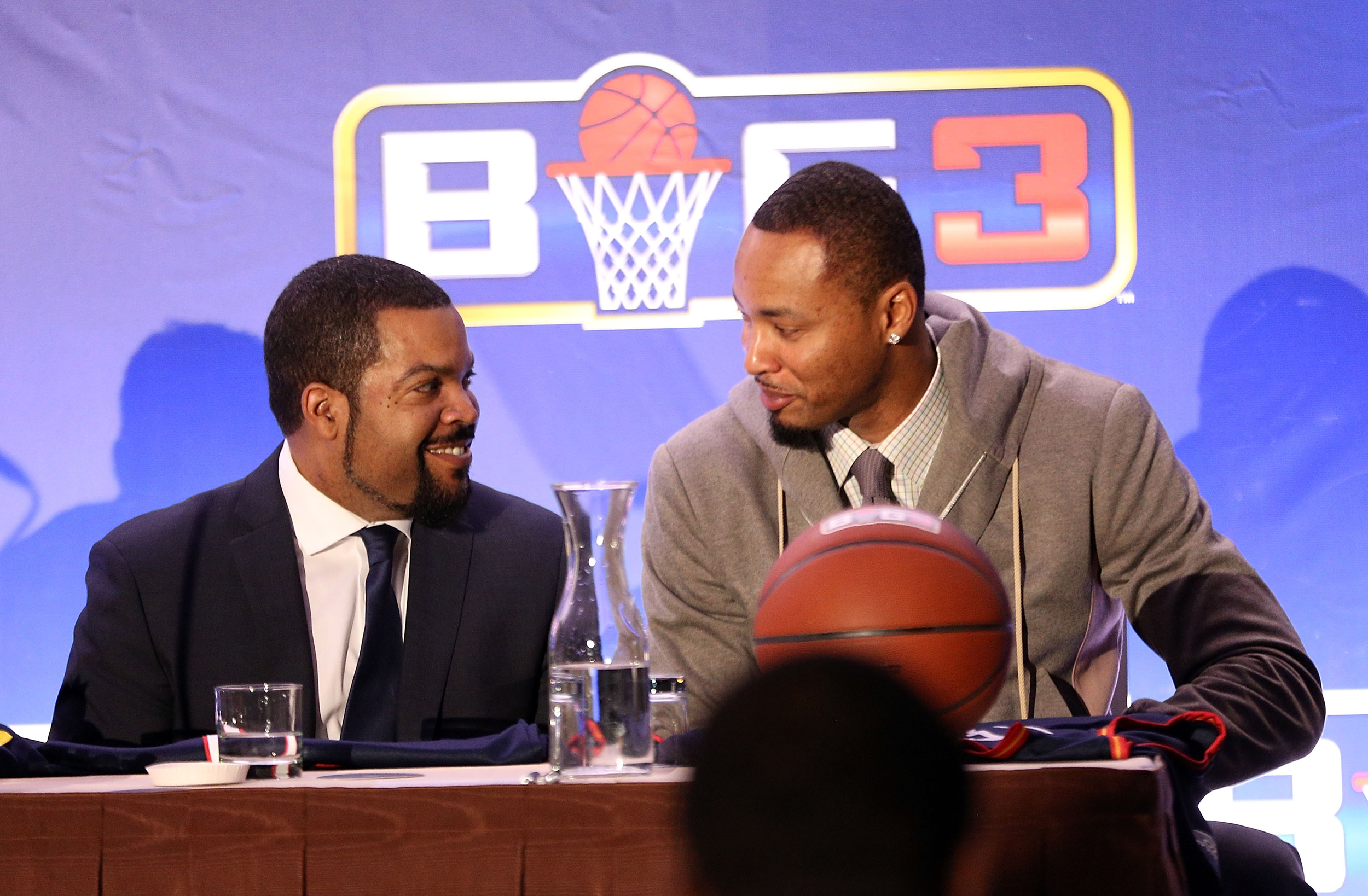 b5148f568ba Ice Cube and Rashard Lewis attend BIG3 Press Conference on January 11, 2017  in New York City.