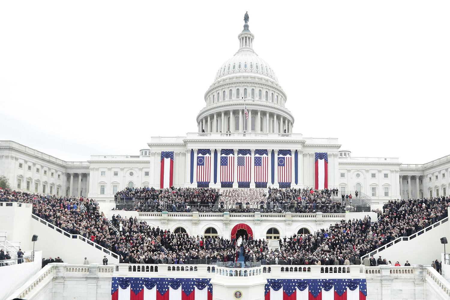 WASHINGTON, DC - JANUARY 20: Guests sit on the West Front of the U.S. Capitol on January 20, 2017 in Washington, DC. In today's inauguration ceremony Donald J. Trump becomes the 45th president of the United States. (Photo by Alex Wong/Getty Images)
