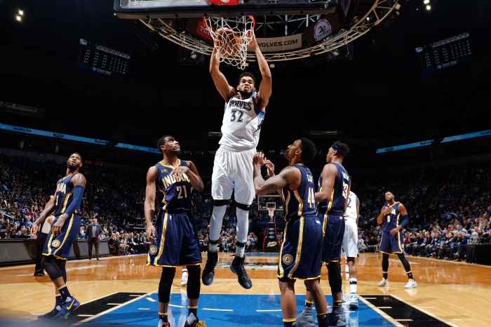 Karl-Anthony Towns #32 of the Minnesota Timberwolves dunks the ball during the game against the Indiana Pacers on January 26, 2017 at Target Center in Minneapolis, Minnesota.