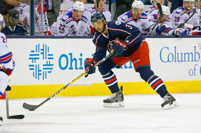 COLUMBUS, OH - JANUARY 7: Seth Jones #3 of the Columbus Blue Jackets controls the puck during the game against the New York Rangers on January 7, 2017 at Nationwide Arena in Columbus, Ohio. (Photo by Kirk Irwin/Getty Images)