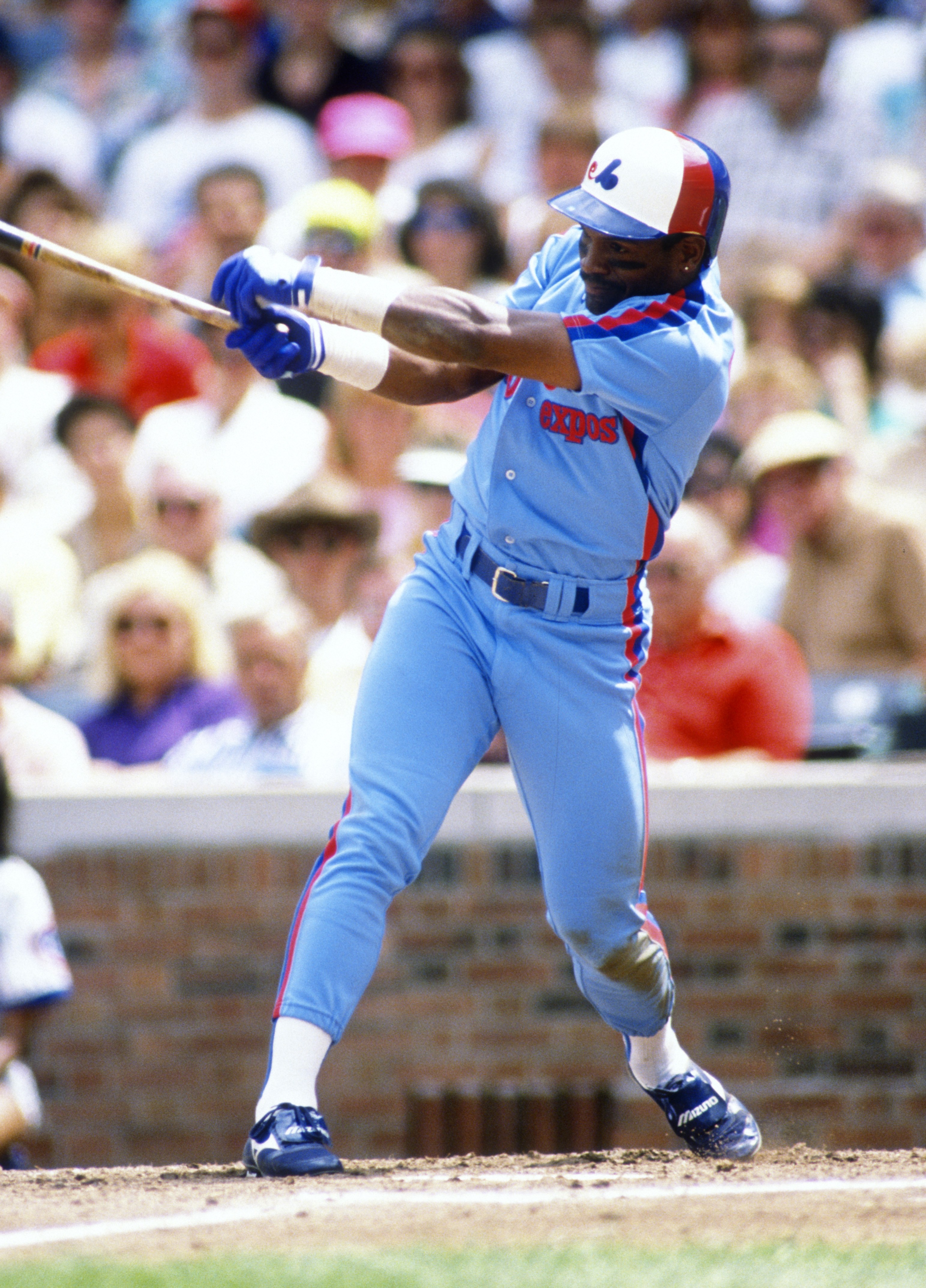 Tim Raines of the Montreal Expos bats during an MLB game versus the Chicago Cubs at Wrigley Field in Chicago, Illinois. Raines played for the Expos from 1979-1990.