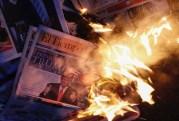 Donald Trump, Inauguration, newspaper, burned, Latino