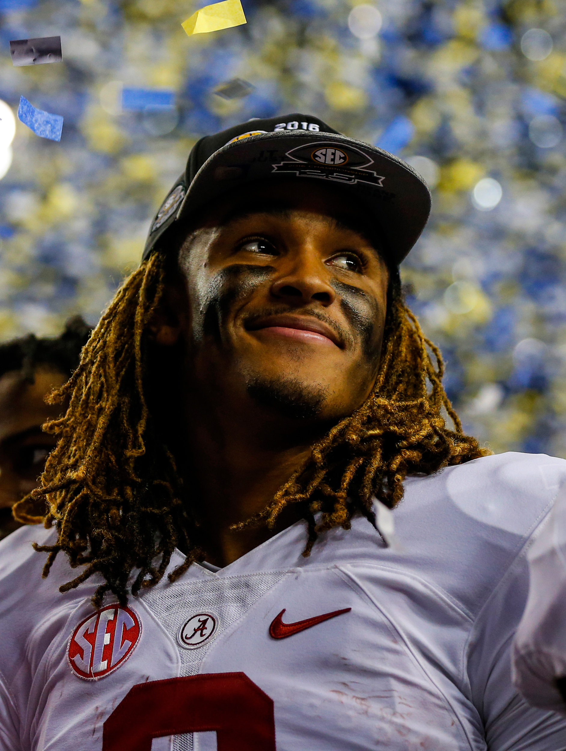 Alabama quarterback Jalen Hurts (2) celebrates after defeating Florida in the Southeastern Conference championship NCAA college football game, in Atlanta.
