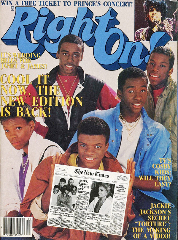 New Edition on the cover of 'Right On' magazine, 1984.