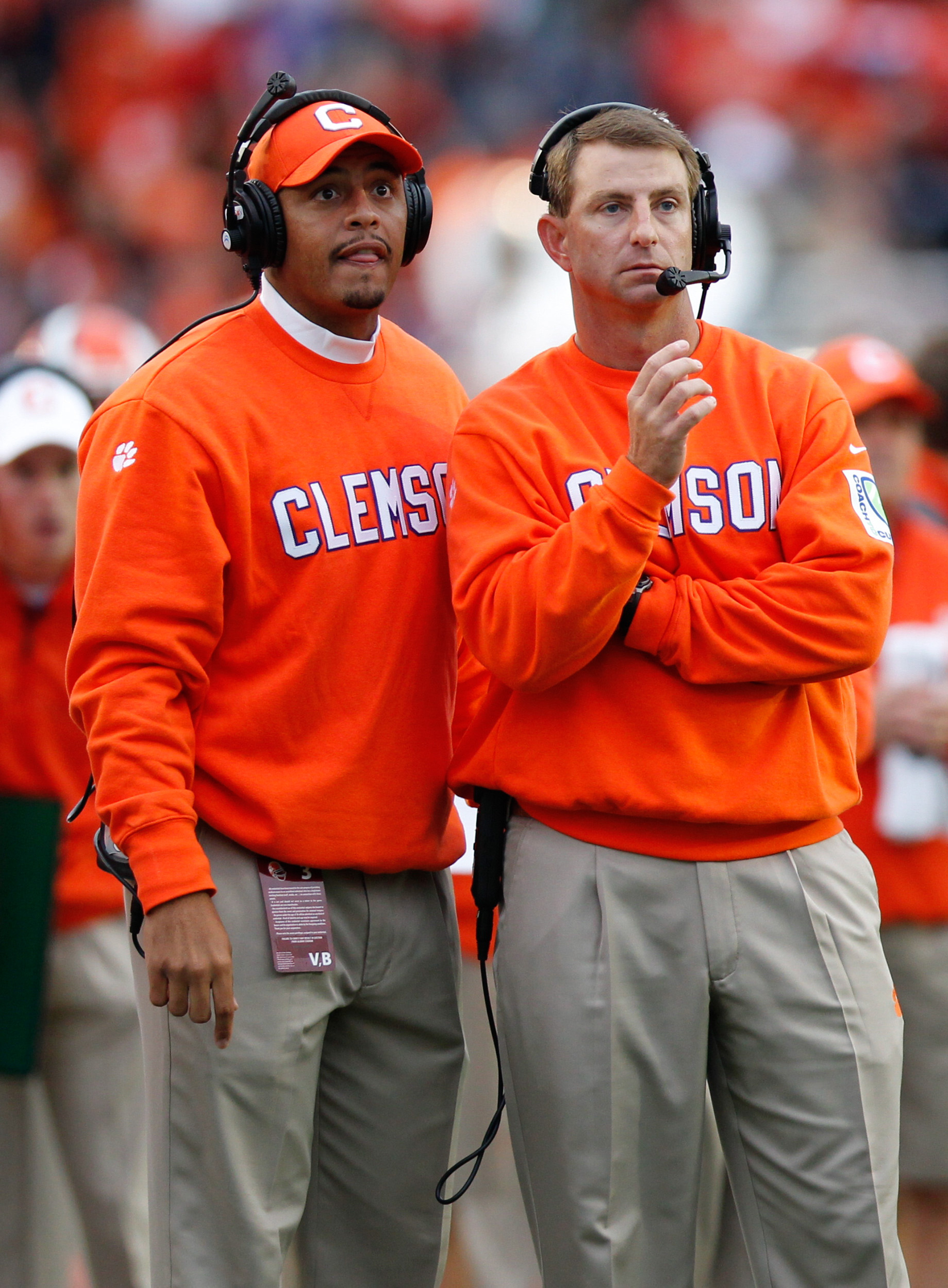 Clemson Tigers head coach Dabo Swinney, right, and assistant coach Tony Elliott on the sideline during the second quarter against the Boston College Eagles at Alumni Stadium.