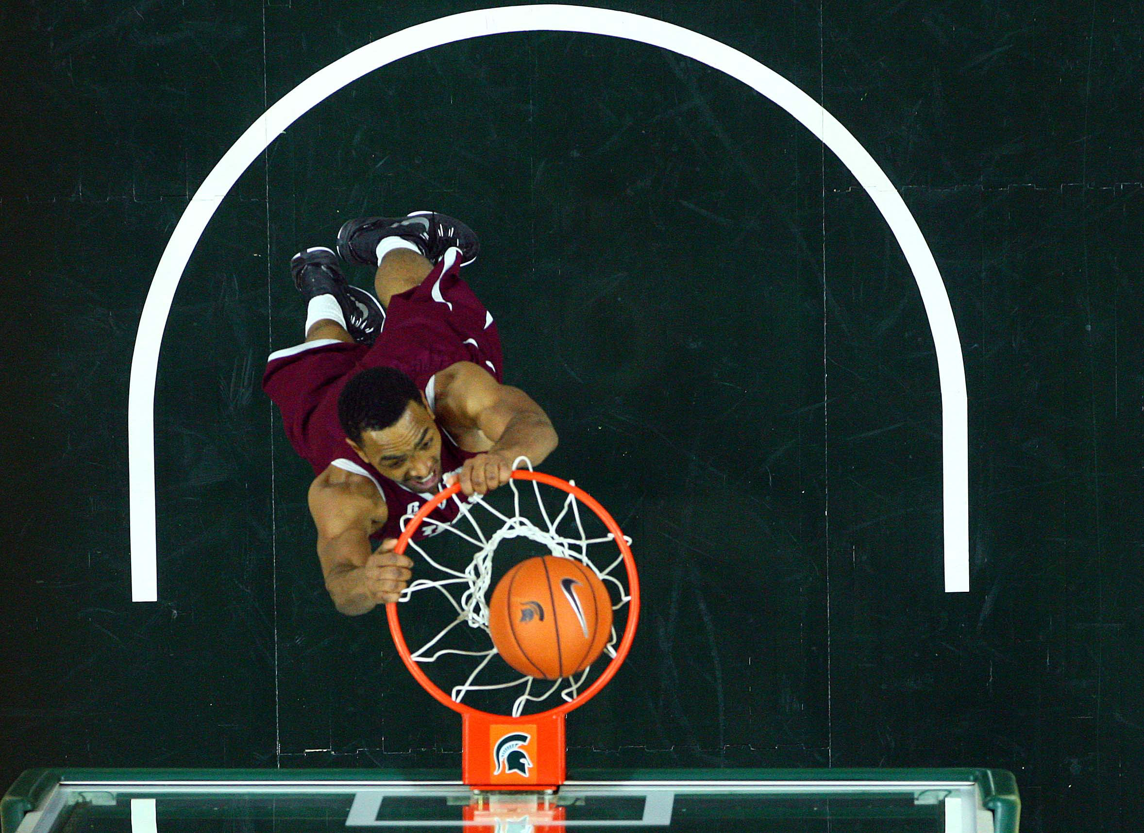 Texas Southern Tigers forward Malcolm Riley (11) dunks the ball against the Michigan State Spartans during the 2nd half of a game at Jack Breslin Student Events Center.