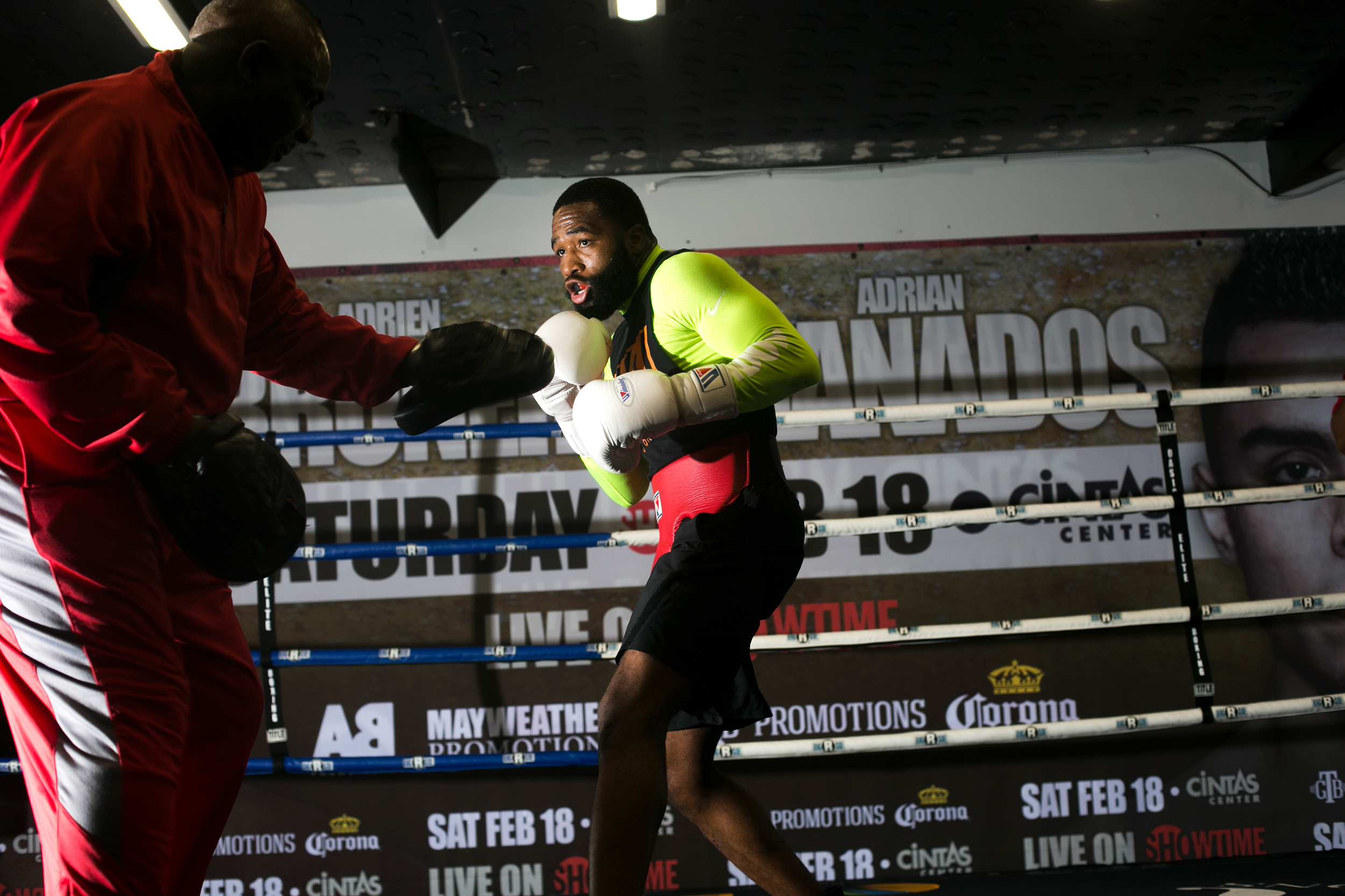 Adrien Broner practices at his gym, the Oasis Elite Boxing gym in Cincinnati, OH, on February 15, 2017.