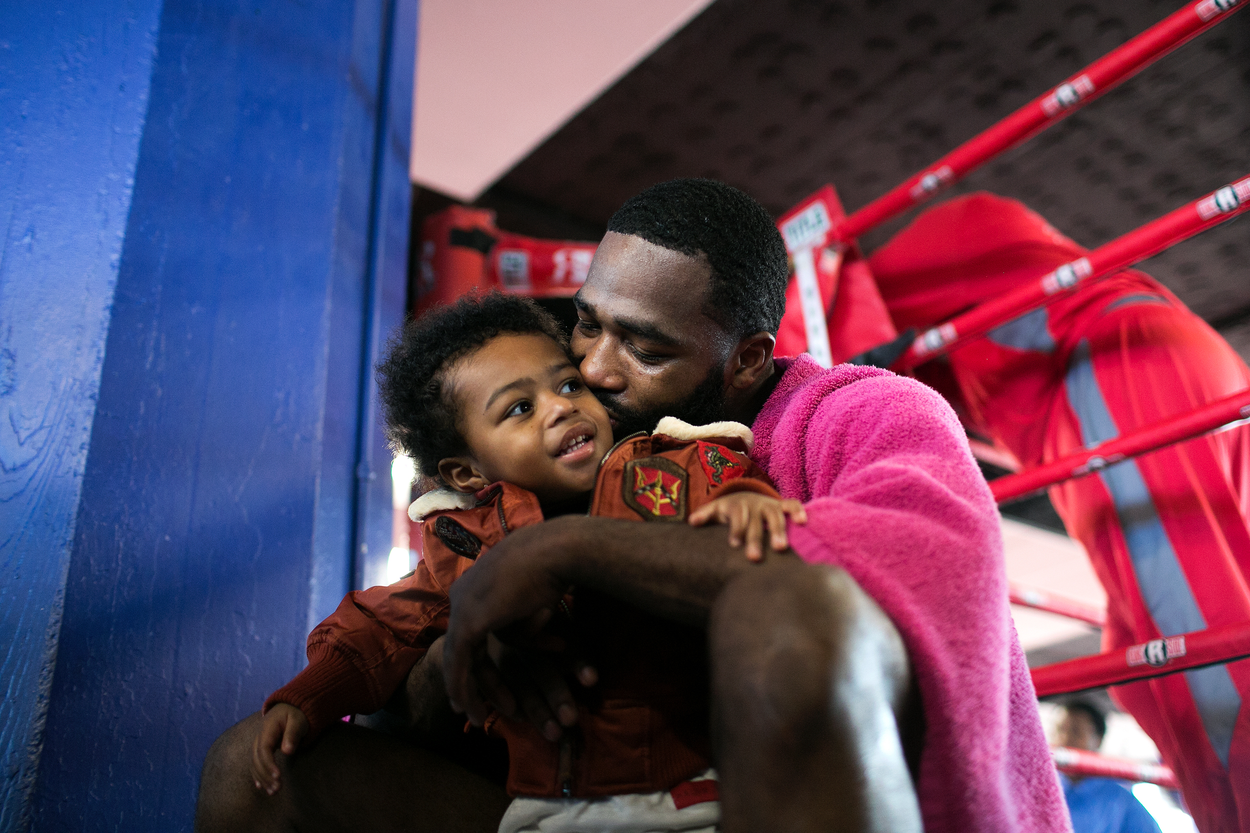 Adrien Broner holds his son on his second birthday after practicing at his gym, the Oasis Elite Boxing gym in Cincinnati, OH, on February 15, 2017.