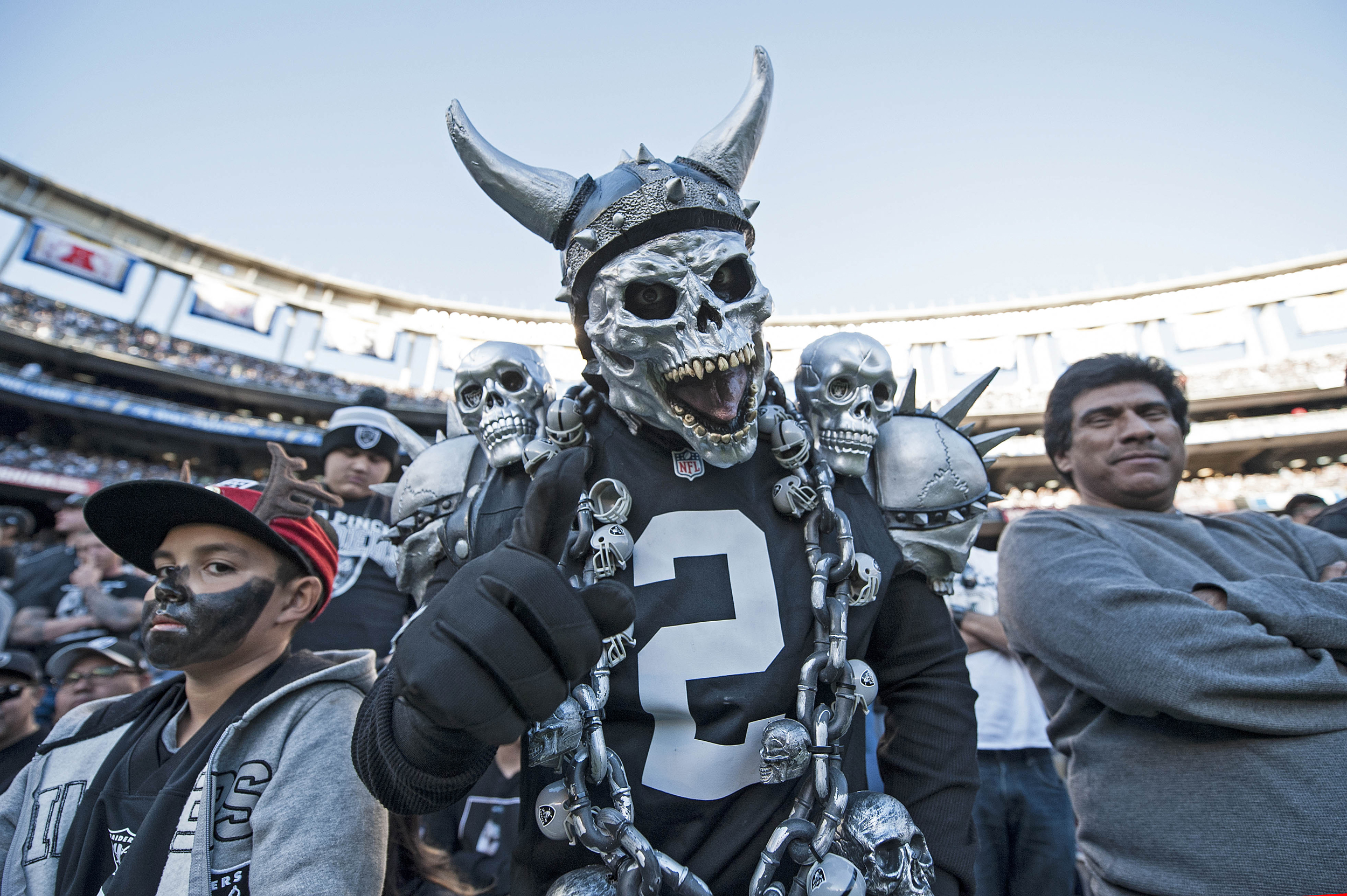 An Oakland Raiders fan reacts en route to the Raiders 19-16 win over the San Diego Chargers at Qualcomm Stadium on December 18, 2016 in San Diego, California.