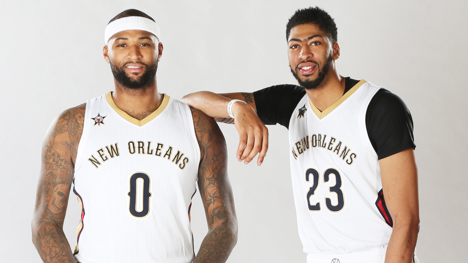 579c97356 New Orleans Pelicans portraits. DeMarcus Cousins  0 and Anthony Davis ...