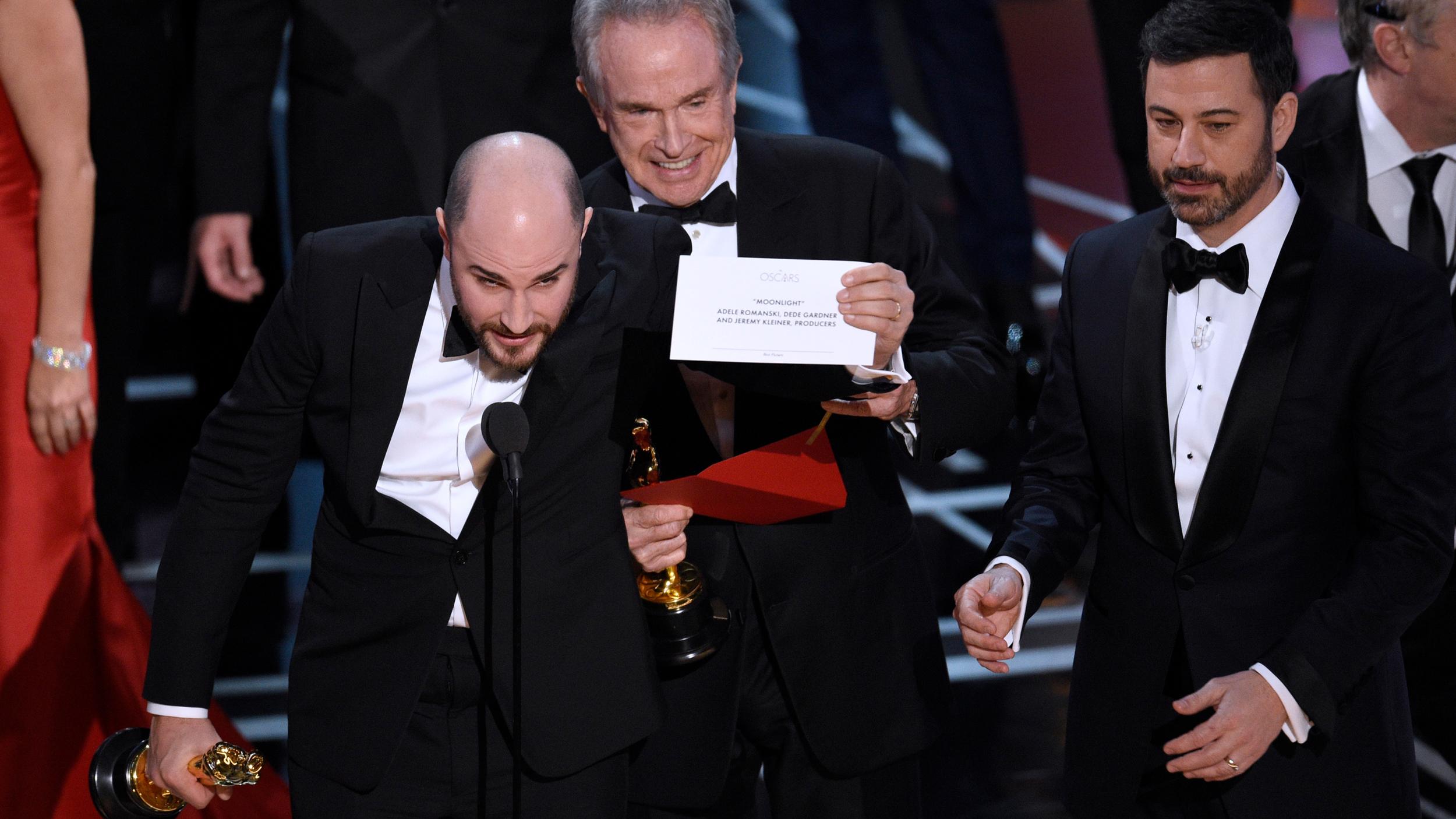 Jordan Horowitz,Warren Beatty,Jimmy Kimmel