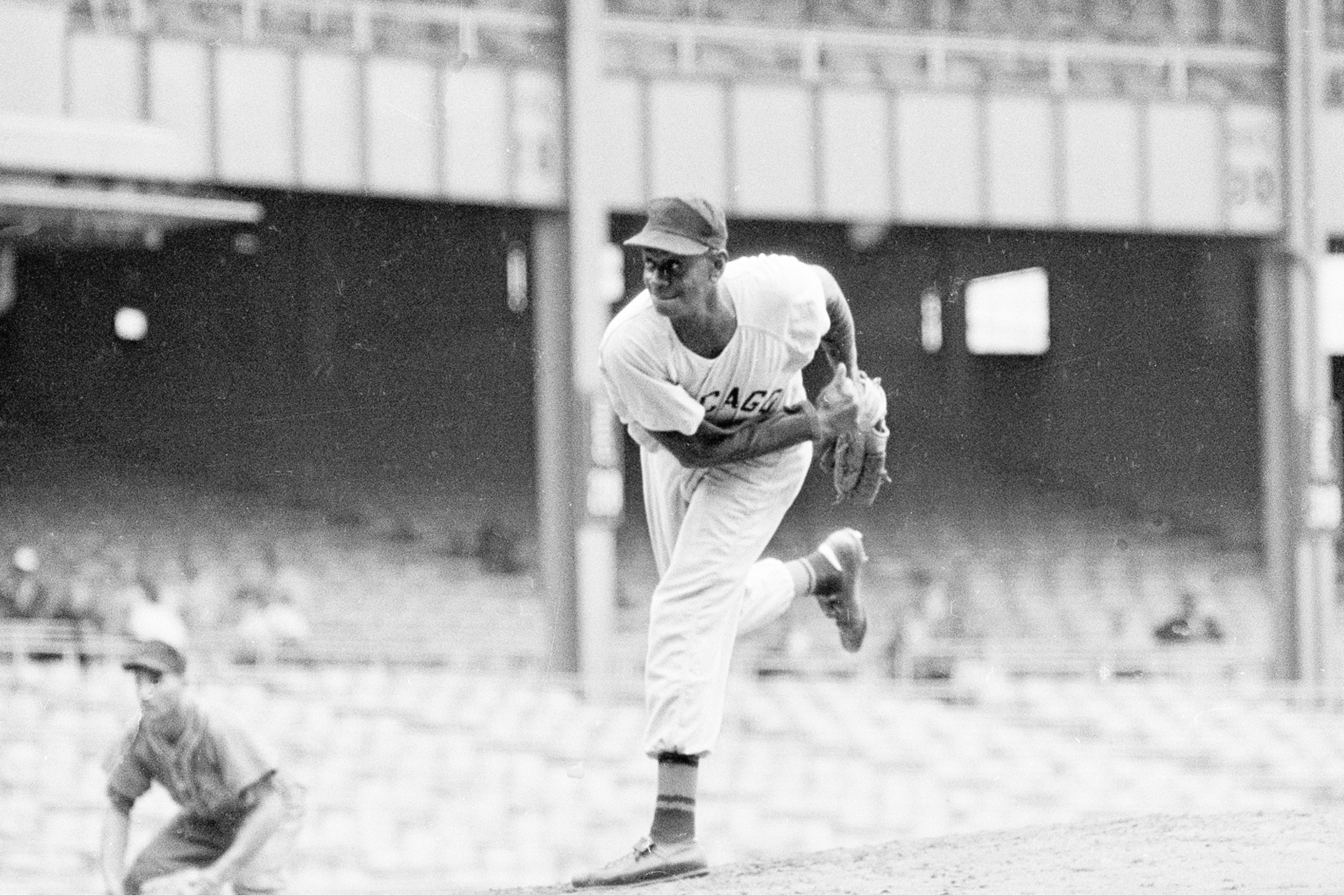 "Pitcher Leroy ""Satchel"" Paige is shown in action during the Negro American League 29th East-West All Star game at New York's Yankee Stadium, Aug. 17, 1961."