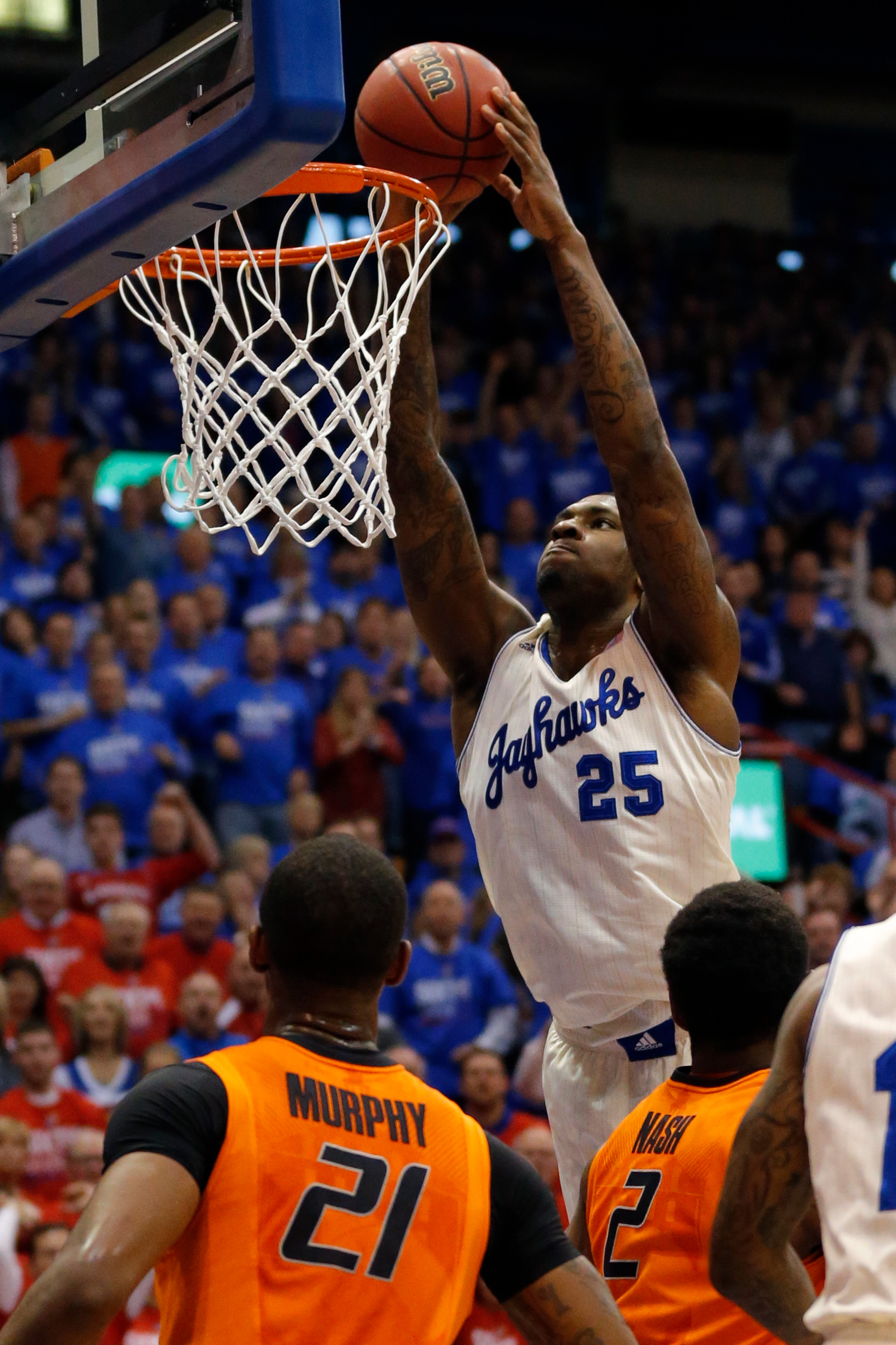Kansas forward Tarik Black (25) during the first half of an NCAA college basketball game at Allen Fieldhouse in Lawrence, Kan., Saturday, Jan. 18, 2014.