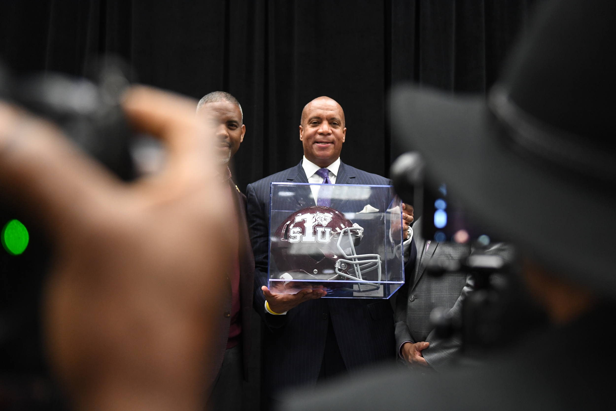 Minnesota Vikings COO Kevin Warren holds his award from Texas Southern University on February 4, 2017 at the George Brown Convention Center in Houston, TX.