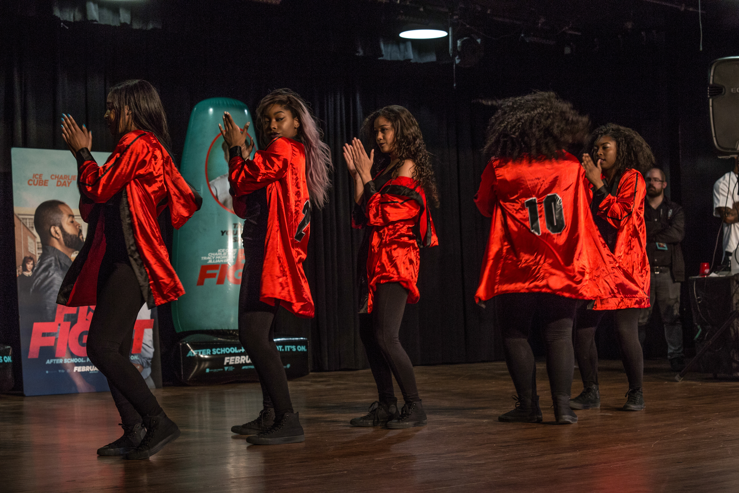 Spelman College Freshman Dormitory steppers perform routine for crowd at stroll off.