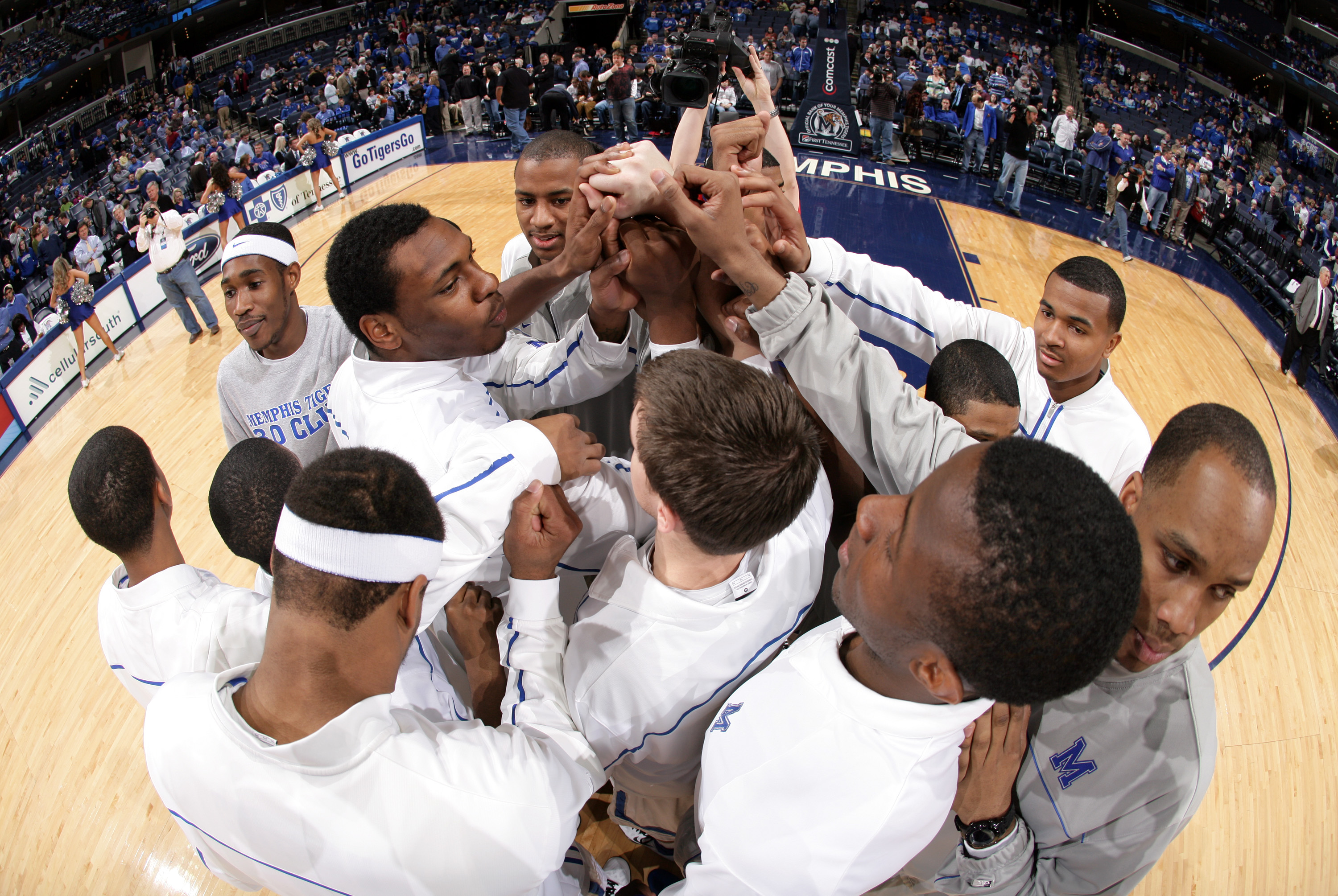 Tarik Black #10 of the Memphis Tigers leads his team in a huddle before a game against the UCF Knights on January 26, 2011 at FedExForum in Memphis, Tennessee.