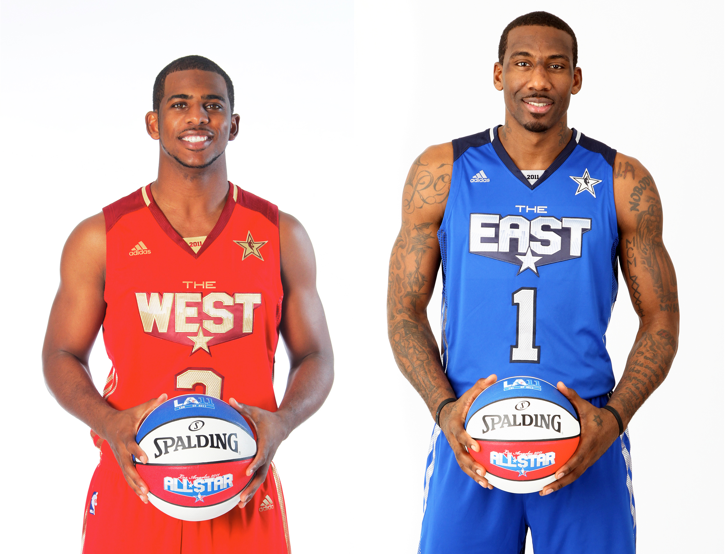 Chris Paul #3 of the New Orleans Hornets and Amar'e Stoudemire #1 of the New York Knicks pose in their All-Star uniform.