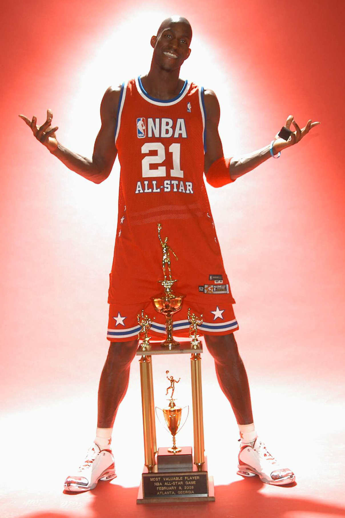 Kevin Garnett of the Western Conference is named MVP of the 52nd NBA All Star Game on February 9, 2003 at the Philips Arena in Atlanta, Georgia.