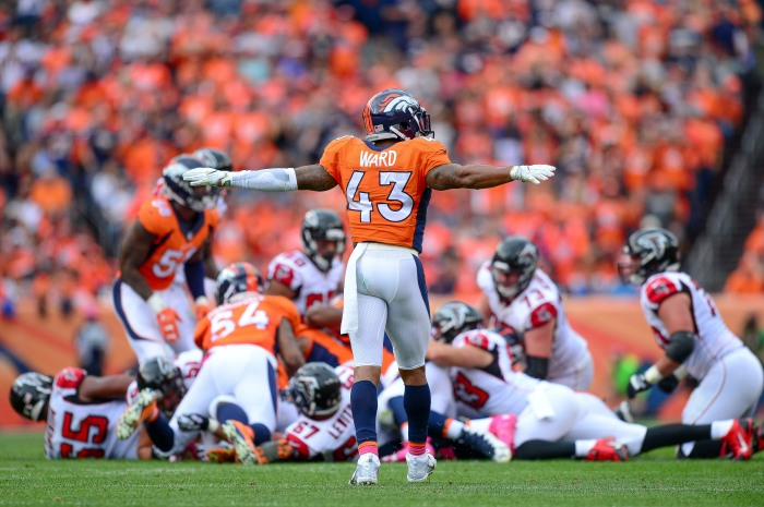 Strong safety T.J. Ward #43 of the Denver Broncos celebrates a defensive play during a game against the Atlanta Falcons at Sports Authority Field at Mile High on October 9, 2016 in Denver, Colorado.