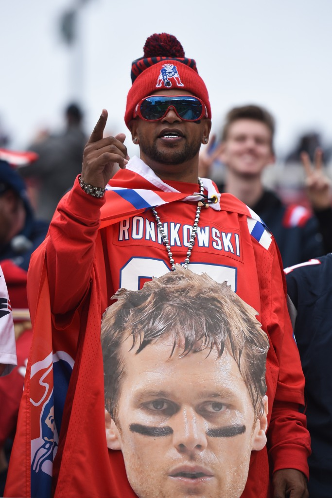 A New England Patriots fan in the stands during the National Football League game between the New England Patriots and the San Francisco 49ers on November 20, 2016, at Levi's Stadium in Santa Clara, CA.