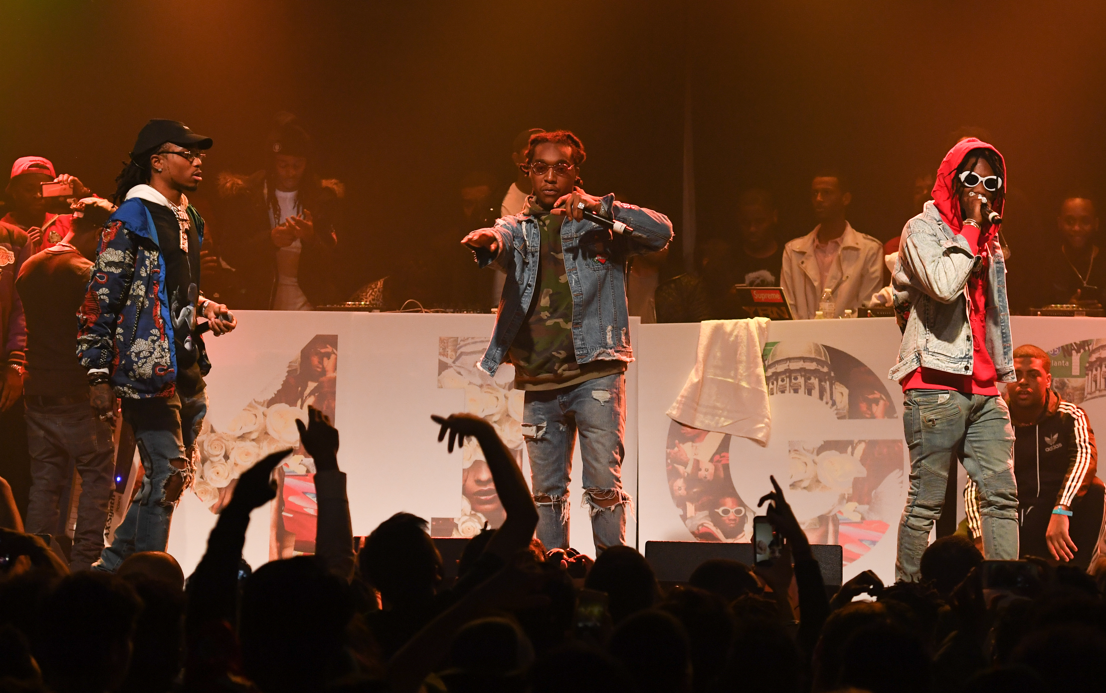 "Migos perform onstage at Puma & Hot 107.9 presents Migos ""Culture"" Album Release concert at Center Stage on January 28, 2017 in Atlanta, Georgia."