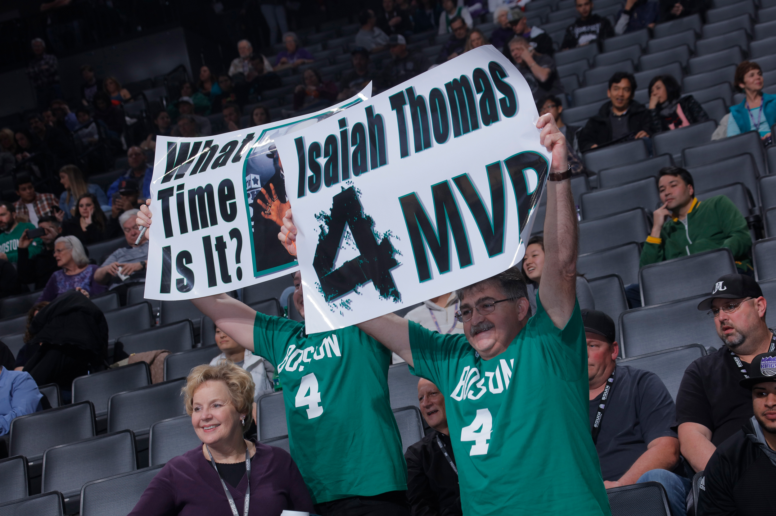Fans cheer on Isaiah Thomas #4 of the Boston Celtics during the game against the Sacramento Kings on February 8, 2017 at Golden 1 Center in Sacramento, California.