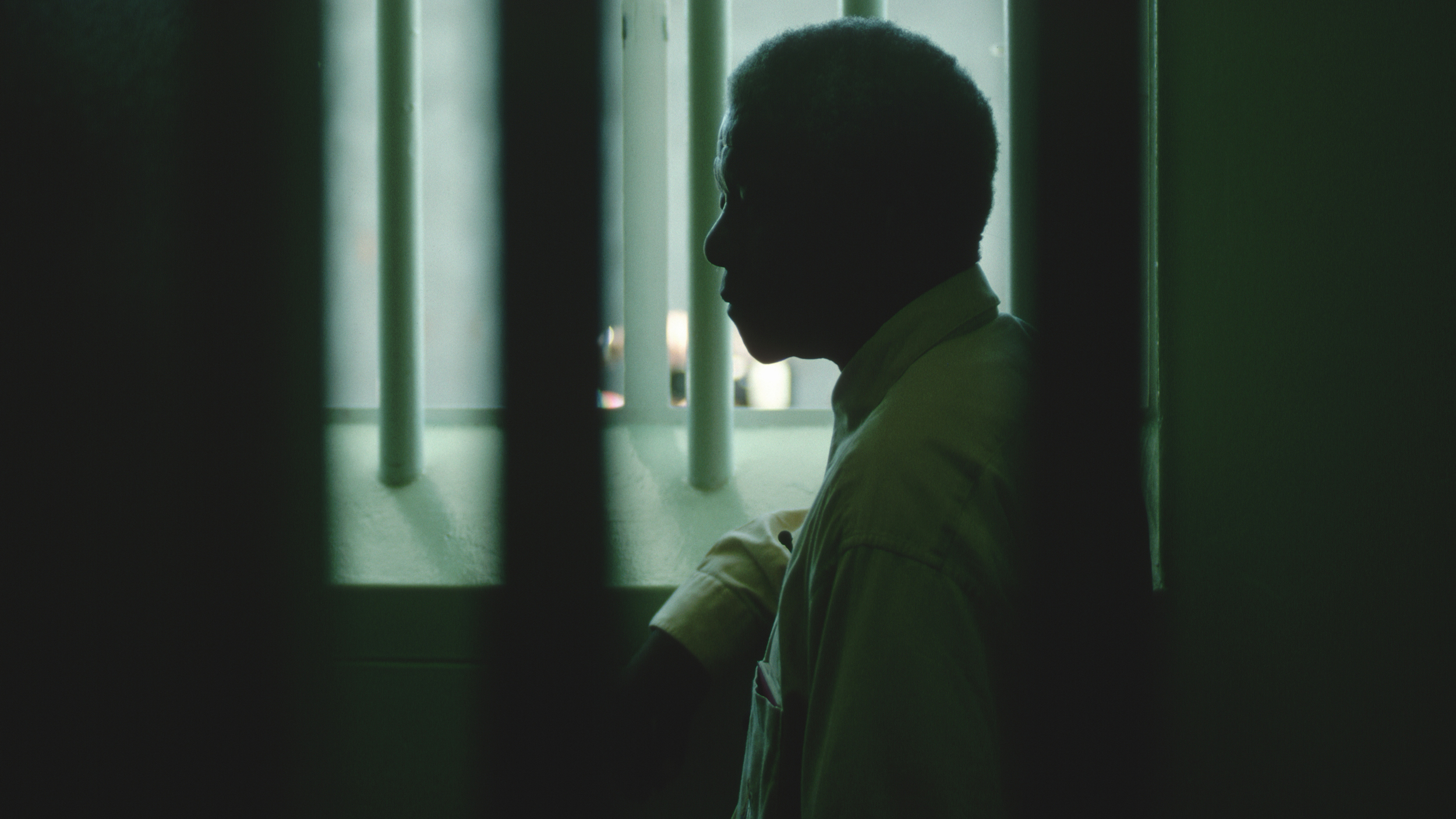 Nelson Mandela Revisiting His Jail Cell