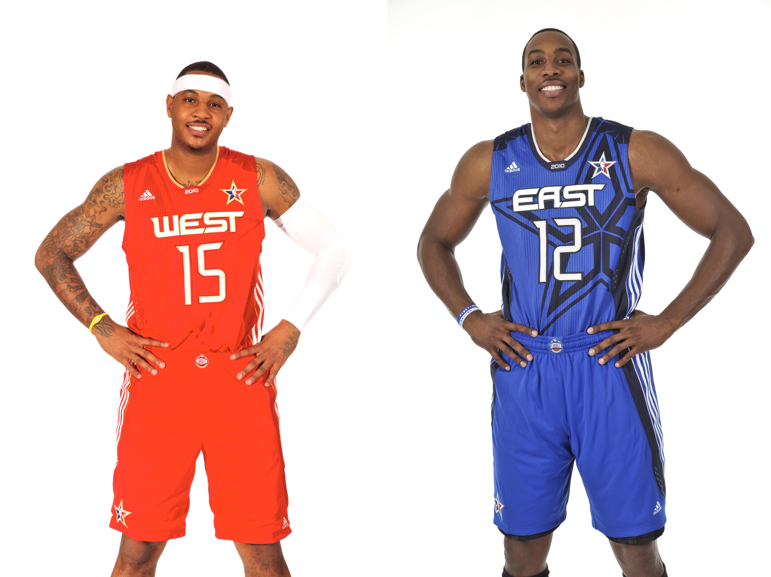 Carmelo Anthony #15 of the Denver Nuggets and Dwight Howard #12 of the Orlando Magic pose in their 2010 All Star Uniform.
