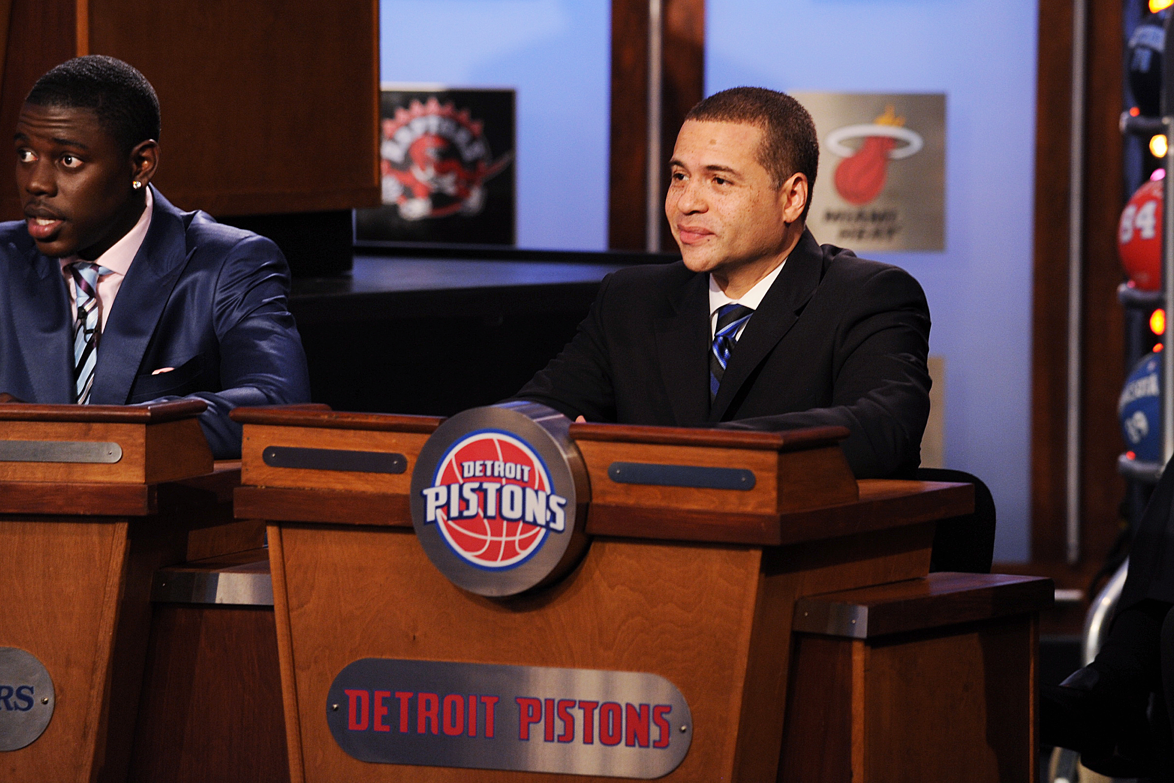 Scott Perry, VP of Basketball Operations of the Detroit Pistons looks on during the 2010 NBA Draft Lottery at the Studios at NBA Entertainment on May 18, 2010 in Secaucus, New Jersey.