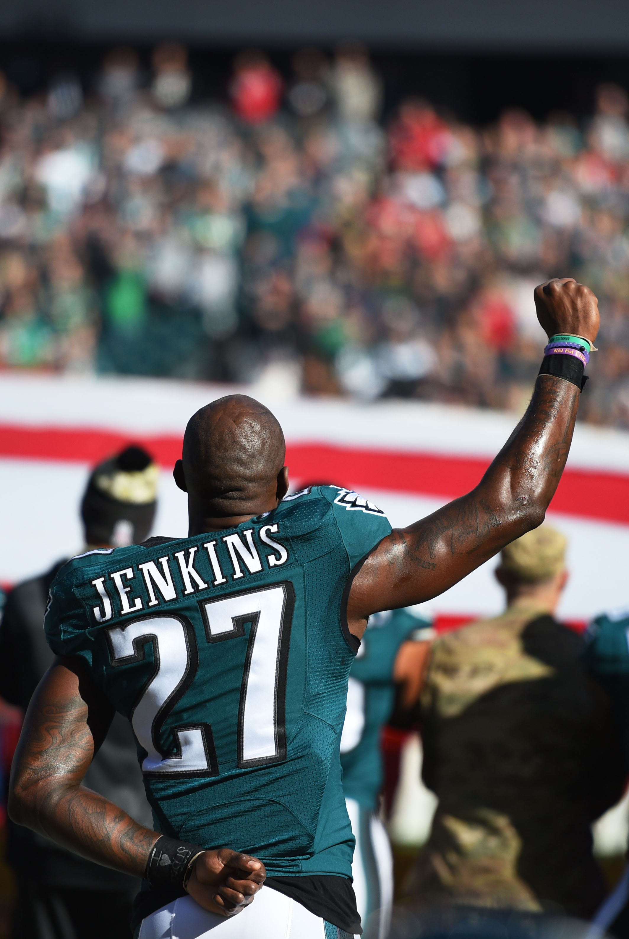 Philadelphia Eagles strong safety Malcolm Jenkins (27) raises his fist during the National Anthem before the game against the Atlanta Falcons at Lincoln Financial Field.