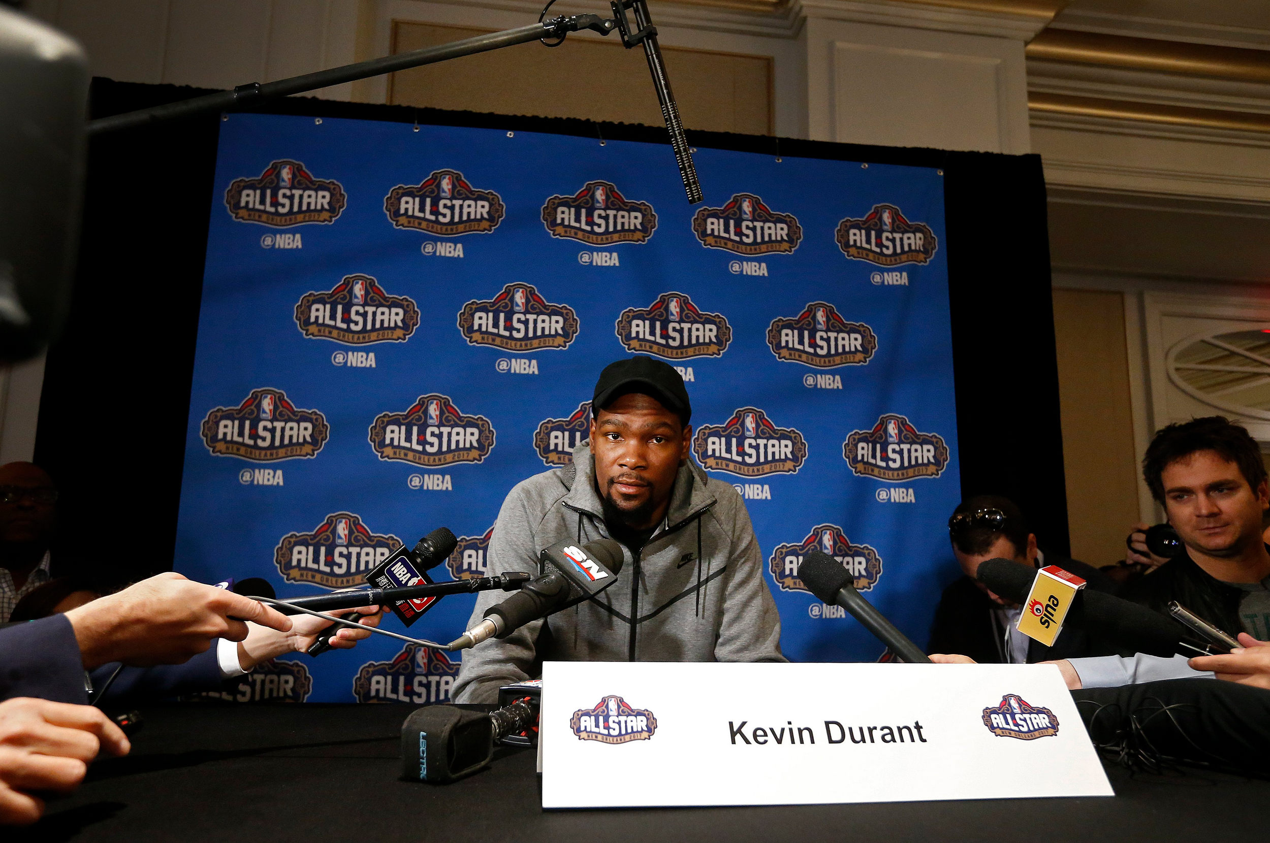 Golden State Warriors player Kevin Durant speaks to the media during NBA All-Star media availability at the Ritz Carlton in New Orleans, Louisiana, USA, 17 February 2017.