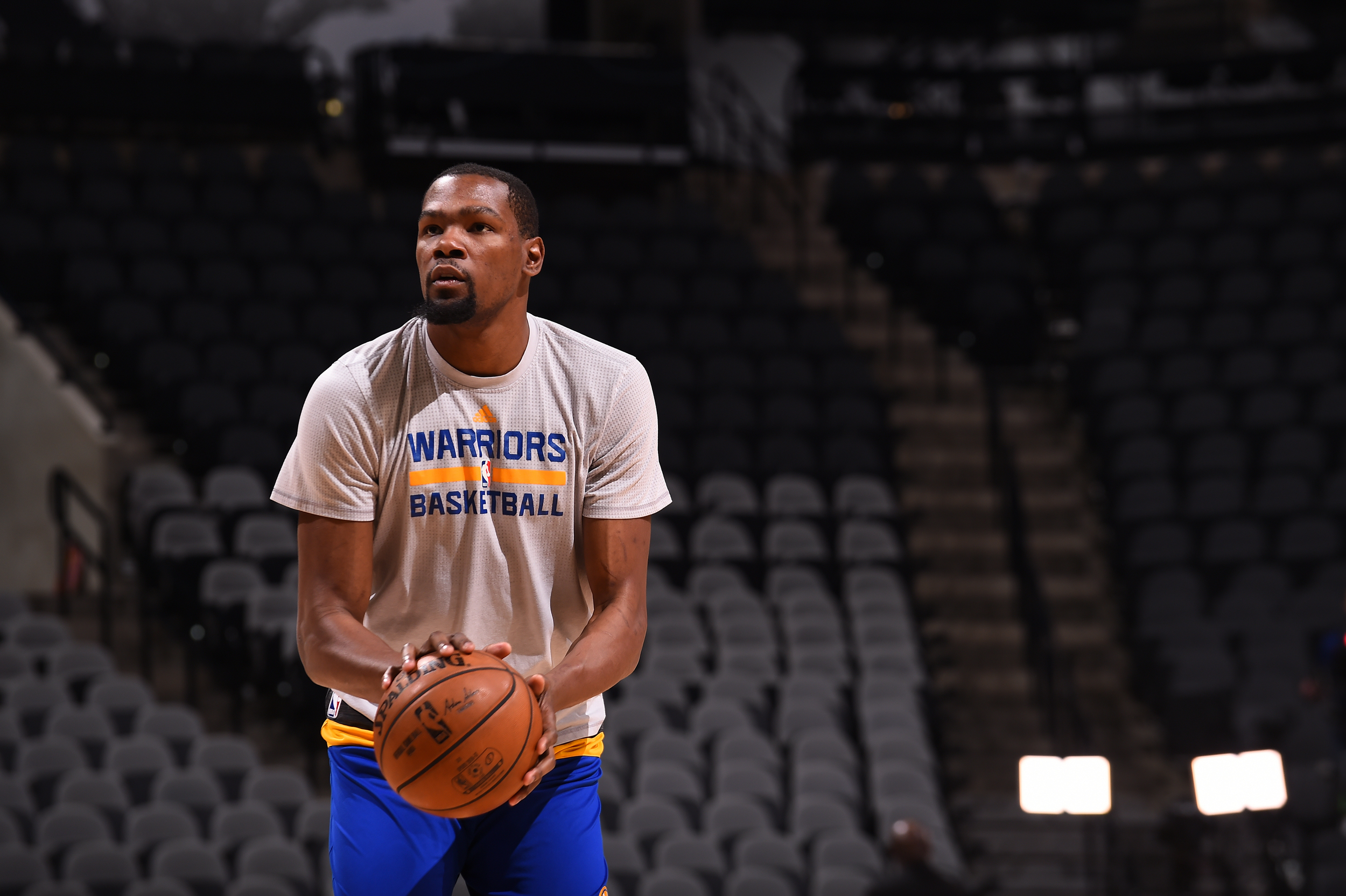 89a2755d7d4 Kevin Durant  35 of the Golden State Warriors warms up before the game  against the San Antonio Spurs on March 29