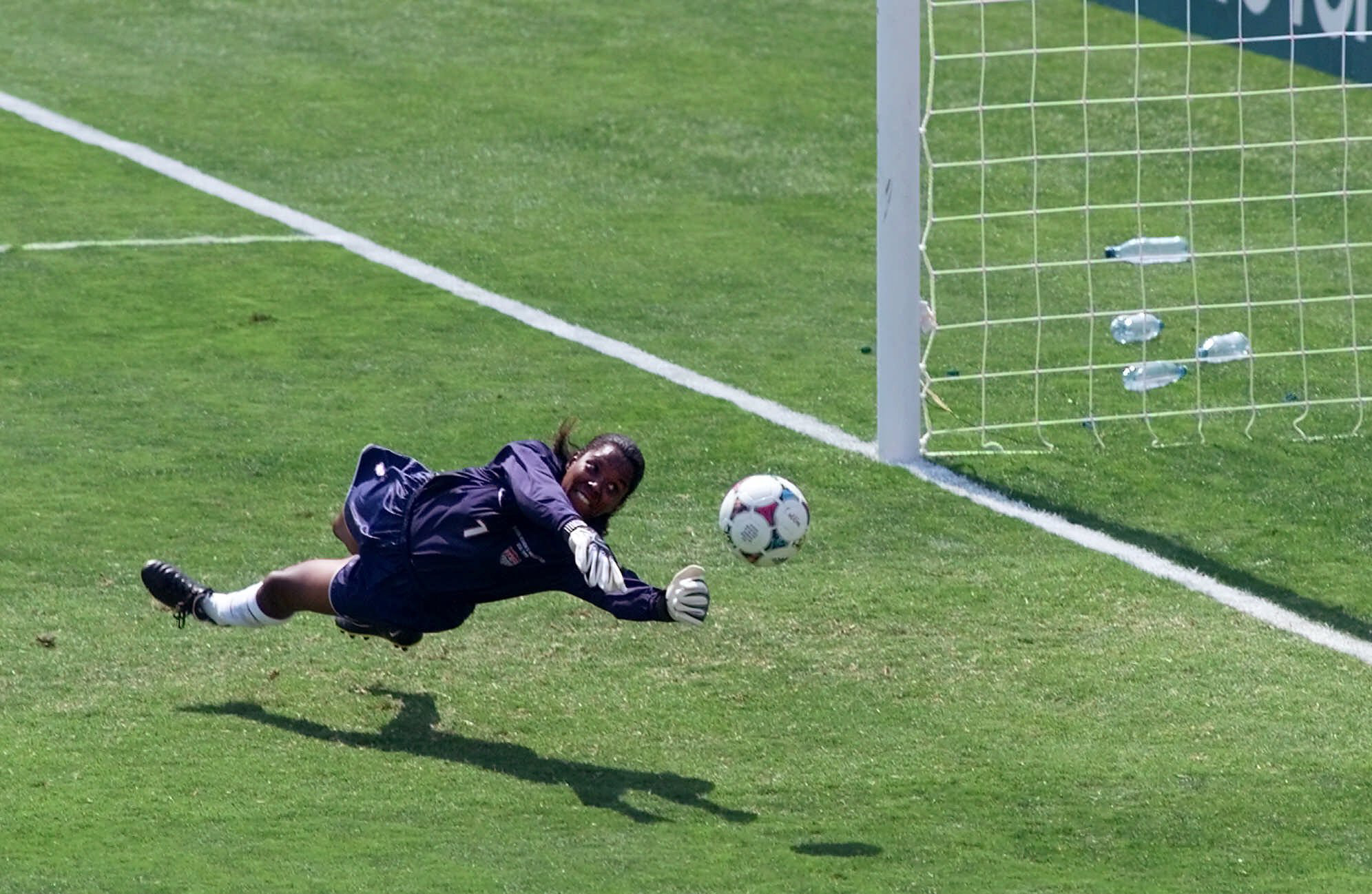United States' goal keeper Briana Scurry (1) blocks a penalty shootout kick by China's Ying Liu during overtime of the Women's World Cup Final at the Rose Bowl in Pasadena, Calif., Saturday, July 10, 1999.