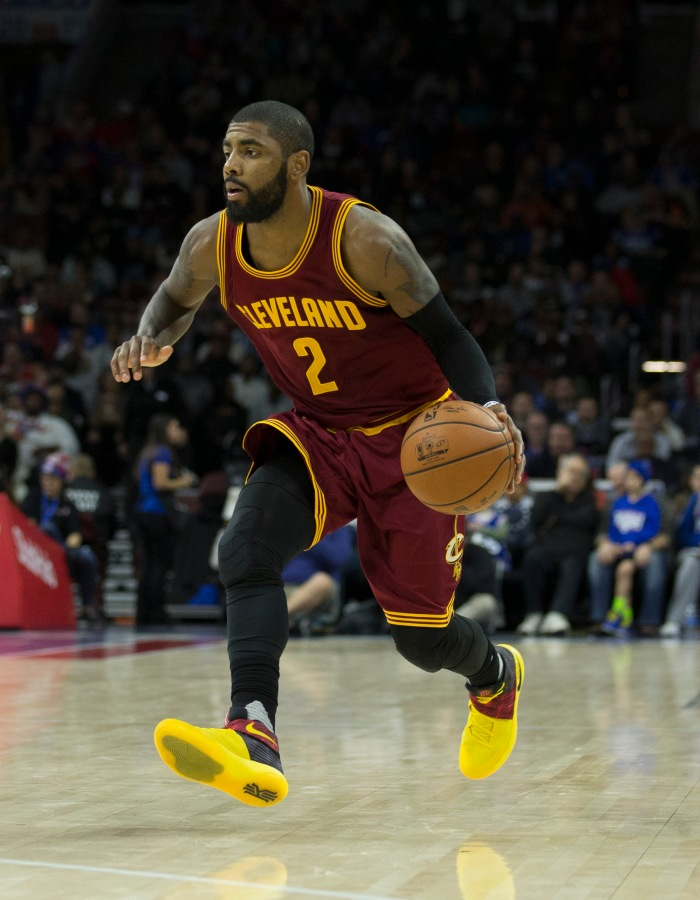 Kyrie Irving #2 of the Cleveland Cavaliers dribbles the ball against the Philadelphia 76ers at Wells Fargo Center on November 27, 2016 in Philadelphia, Pennsylvania.