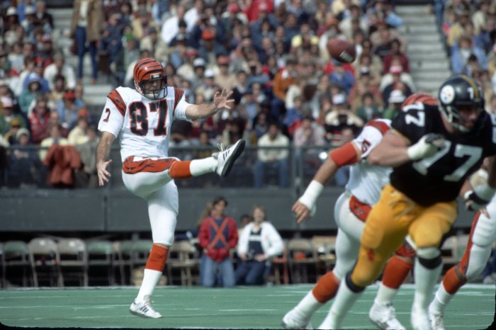 Punter Pat McInally #87 of the Cincinnati Bengals punts against the Pittsburgh Steelers at Riverfront Stadium circa 1980 in Cincinnati, Ohio.