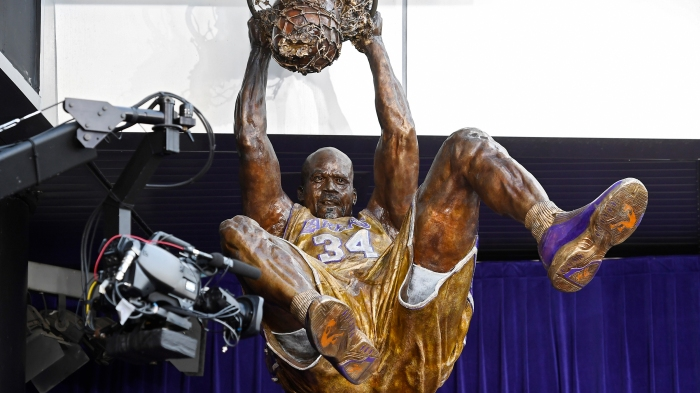 69a9874cfeb Five top L.A. moments to remember as Shaq's statue is unveiled outside the  Staples Center