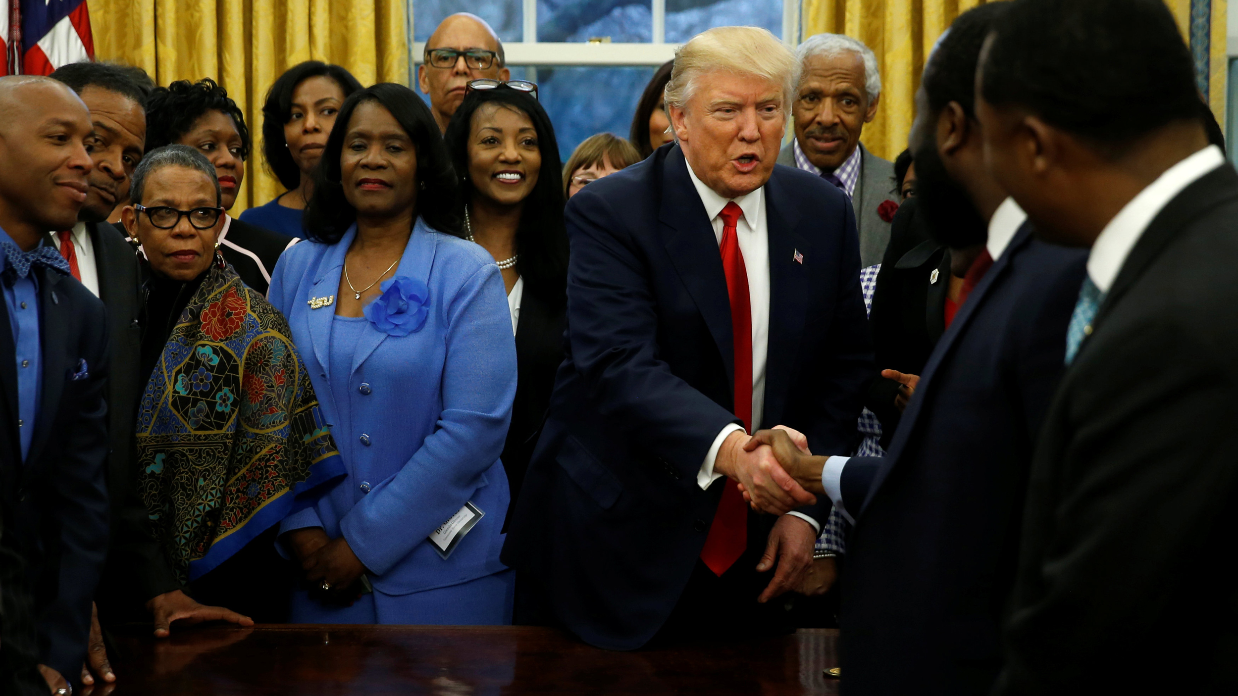 Trump welcomes the leaders of dozens of historically black colleges and universities (HBCU) in the Oval Office at the White House in Washington