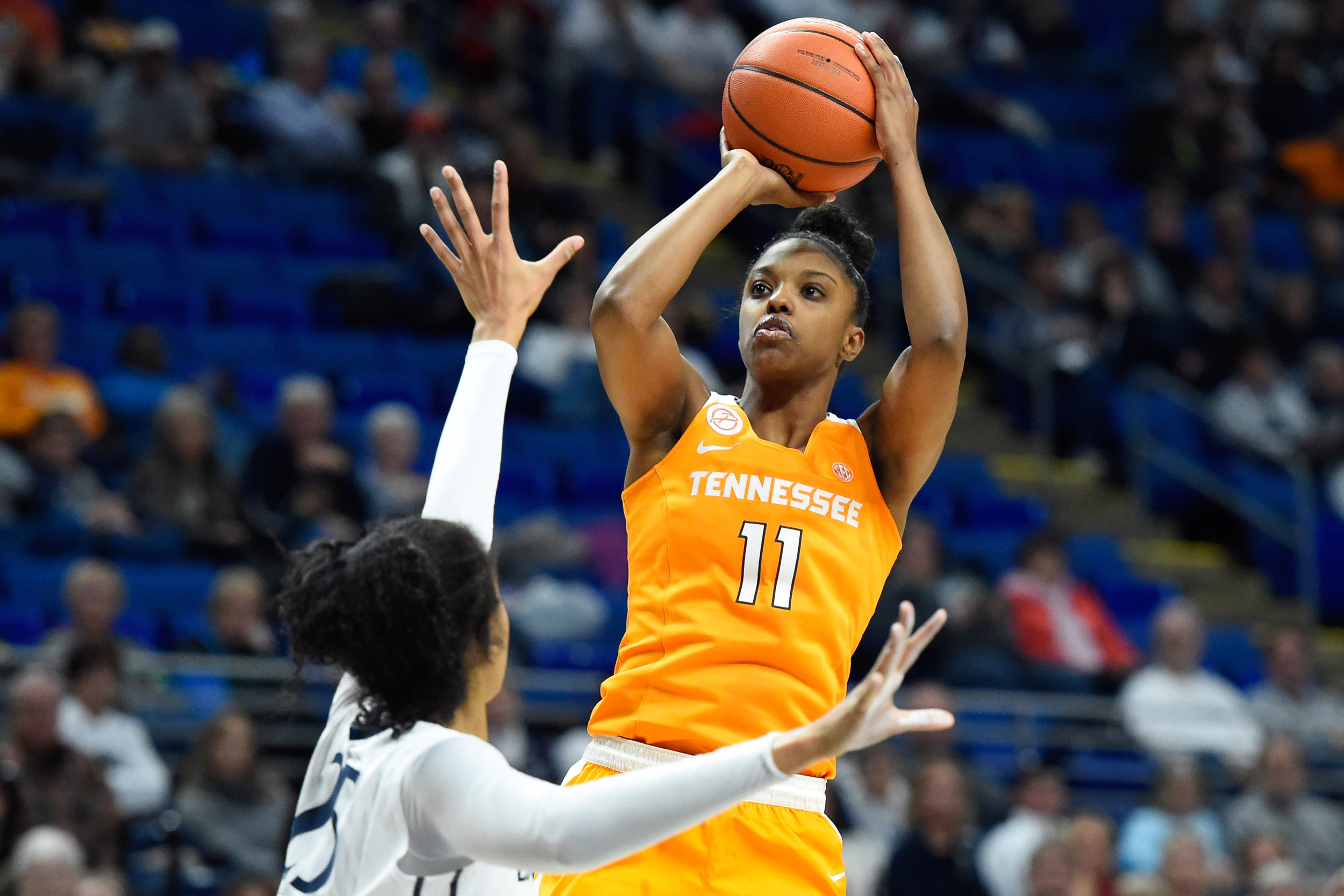 Tennessee Lady Volunteers guard Diamond DeShields (11) shoots the ball against the defense of Penn State Lady Lions forward Peyton Whitted (25) during the second half at the Bryce Jordan Center.