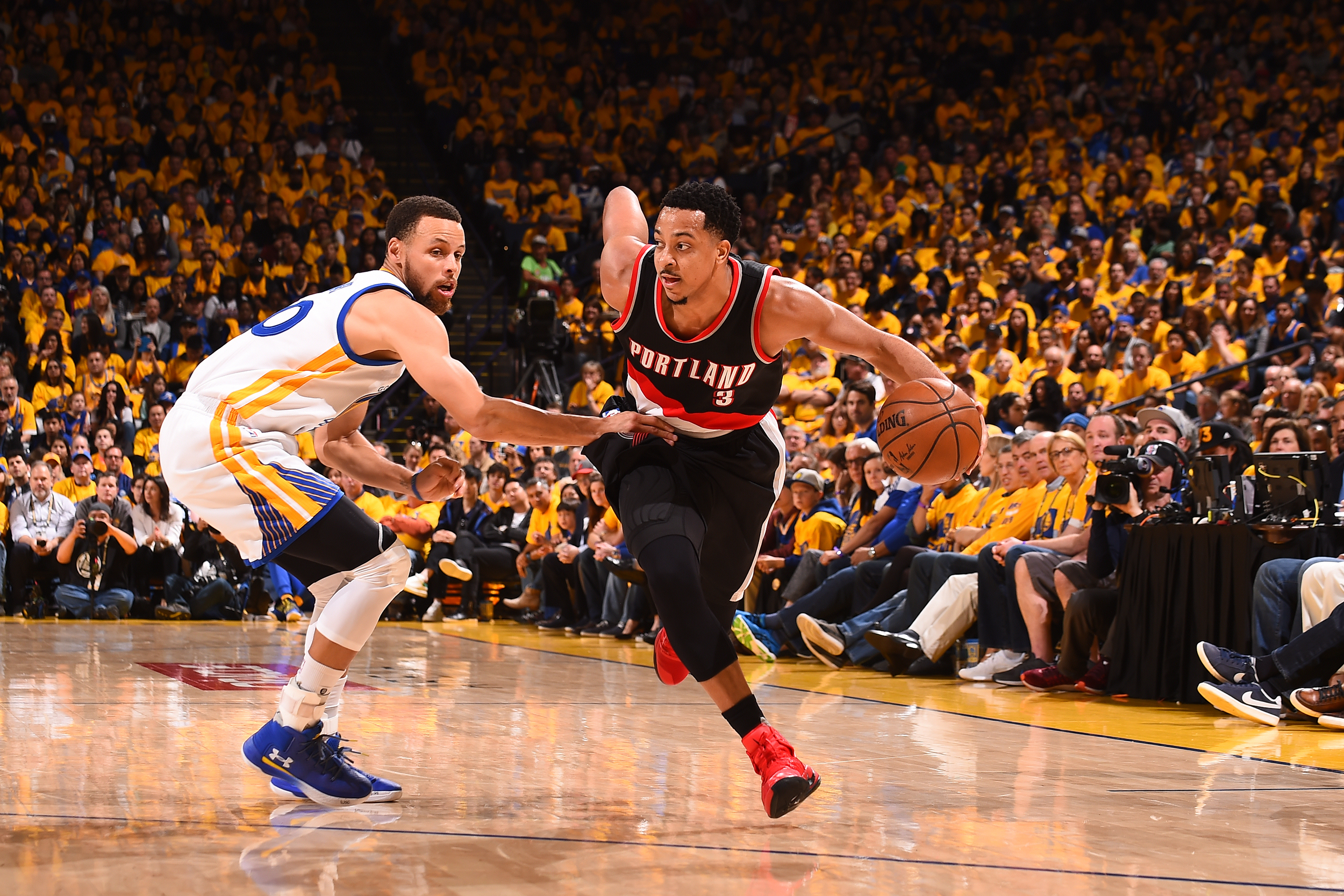 huge discount 392a1 7d043 3) of the Portland Trail Blazers handles the ball against the Golden State  Warriors during the Western Conference quarterfinals of the 2017 NBA  playoffs on ...