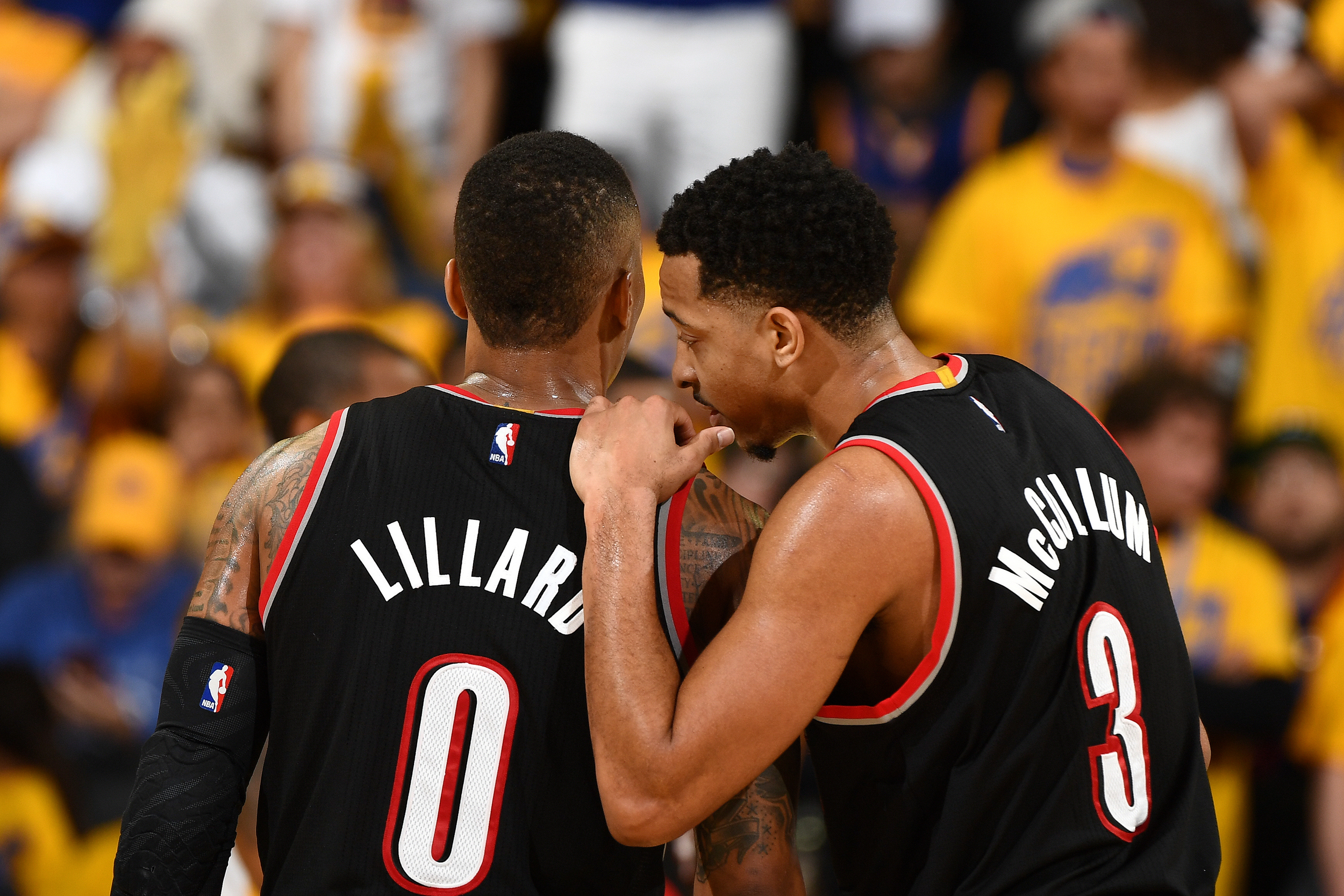 new products 2a70b b58e7 3) talks with Damian Lillard (No. 0) of the Portland Trail Blazers during  their game against the Golden State Warriors in the Western Conference ...