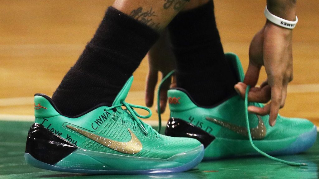 The Boston Celtics  Isaiah Thomas  sneakers were an eloquent and  appropriate tribute to his late sister f07561064