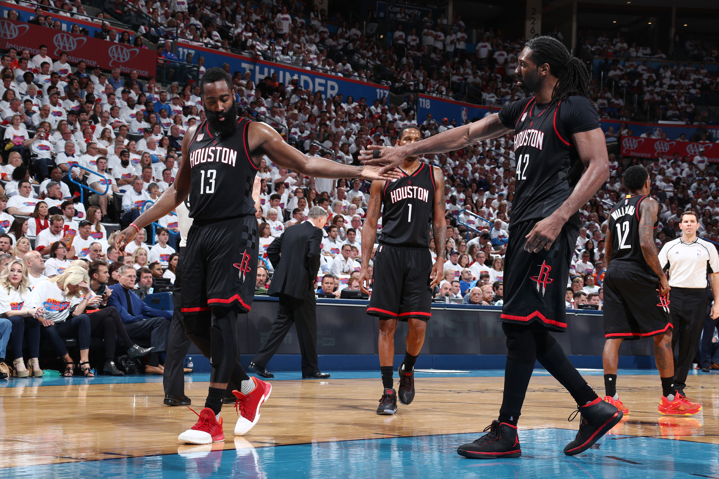 42) of the Houston Rockets react to a play during Game 4 of the Western  Conference guarterfinals of the 2017 NBA playoffs on April ... b1f4de4e4