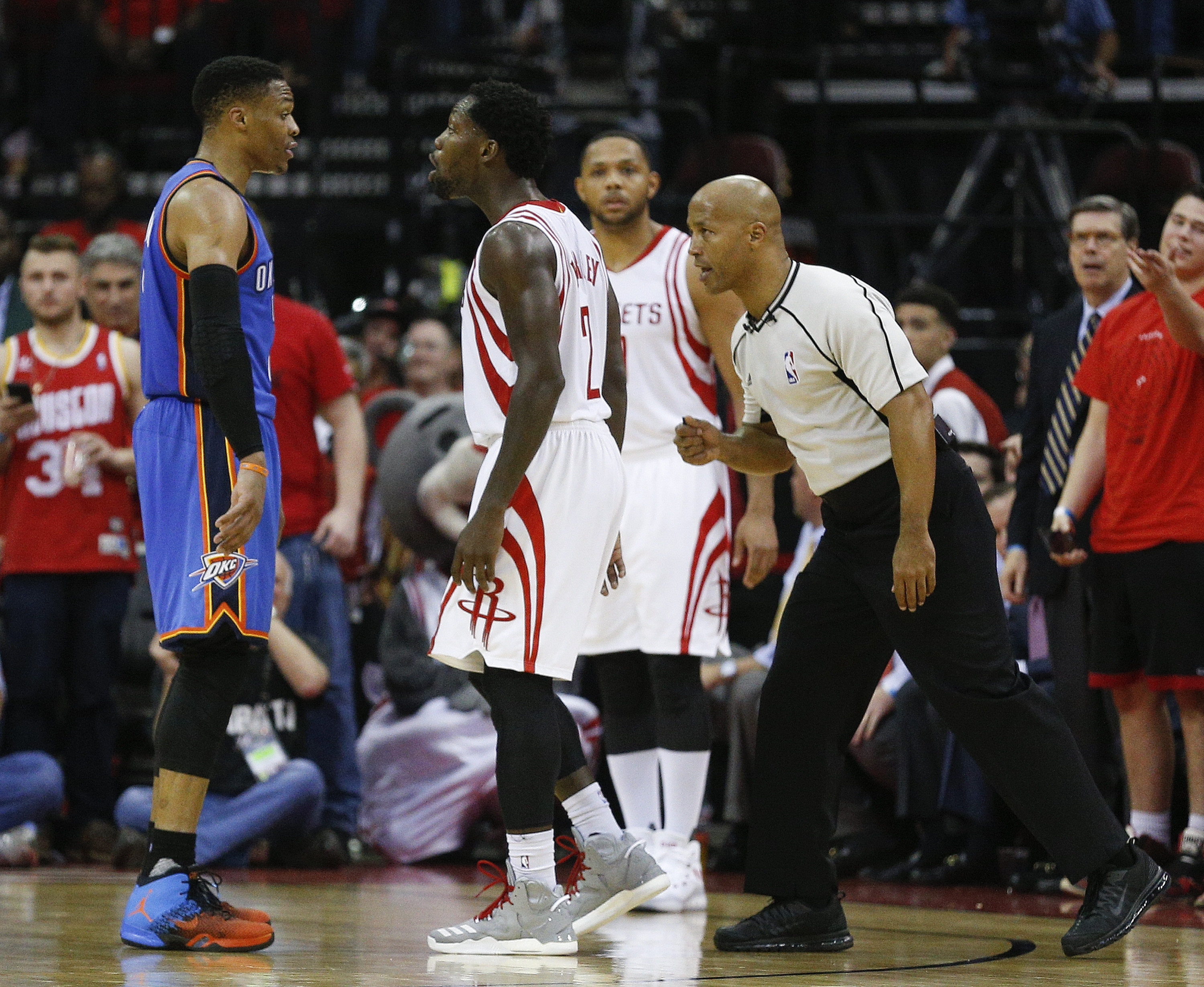 huge selection of 28f83 9184b Russell Westbrook (No. 0) of the Oklahoma City Thunder and Patrick Beverley  (No. 2) of the Houston Rockets confront each other in the fourth quarter  during ...