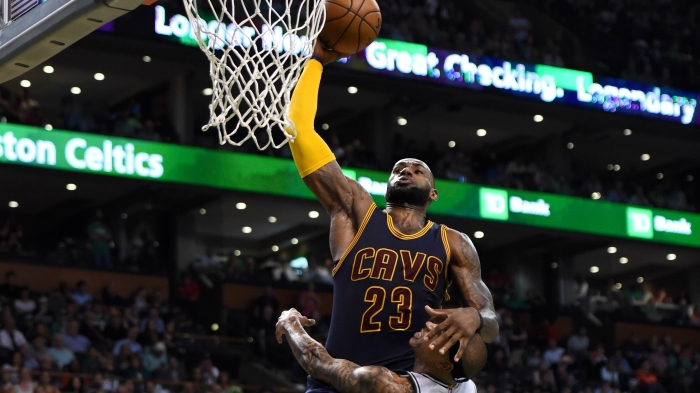 cda81e53764 LeBron James nearly baptized Isaiah Thomas on dunk attempt late in Game 1