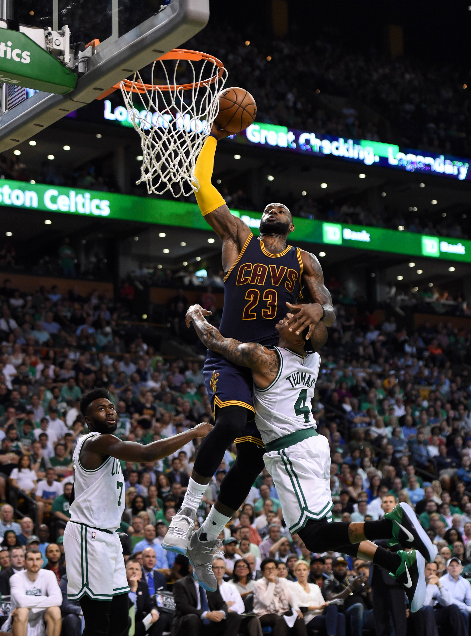 Image result for Lebron James Dunks on Isaiah Thomas