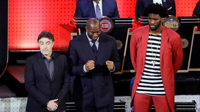 Wyc Grousbeck,Magic Johnson,Joel Embiid