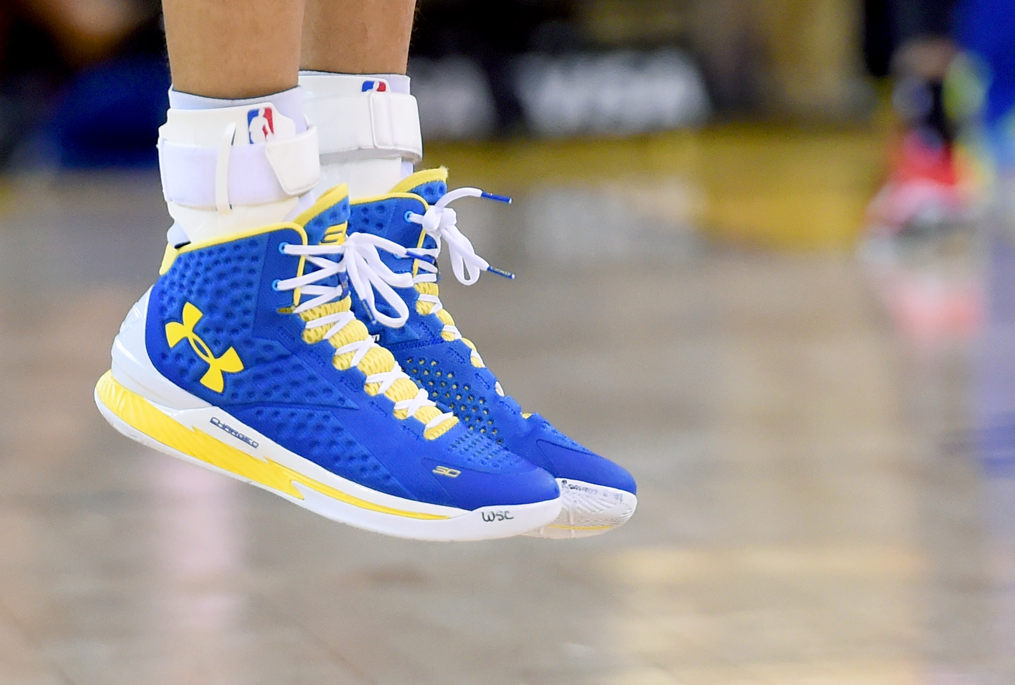new product dbe5d 274b6 A detailed view of the Under Armour basketball shoes worn by Stephen Curry  of the Golden State Warriors against the Miami Heat at ORACLE Arena on Jan.