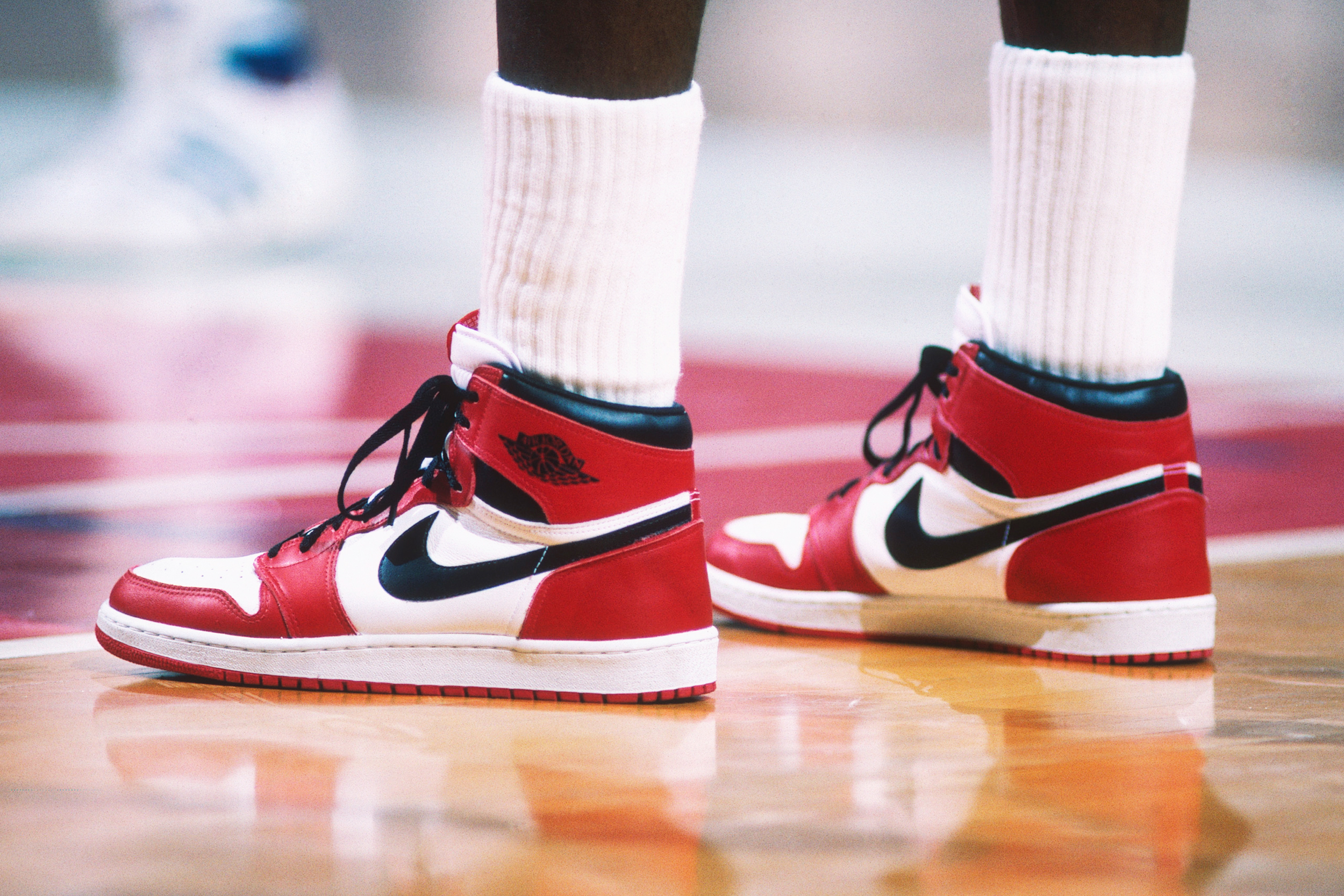 "The ""Air Jordan"" Nike shoes worn by the Chicago Bulls  Michael Jordan  during a game against the Washington Bullets at Capital Centre circa 1985  in ... ca2540148"