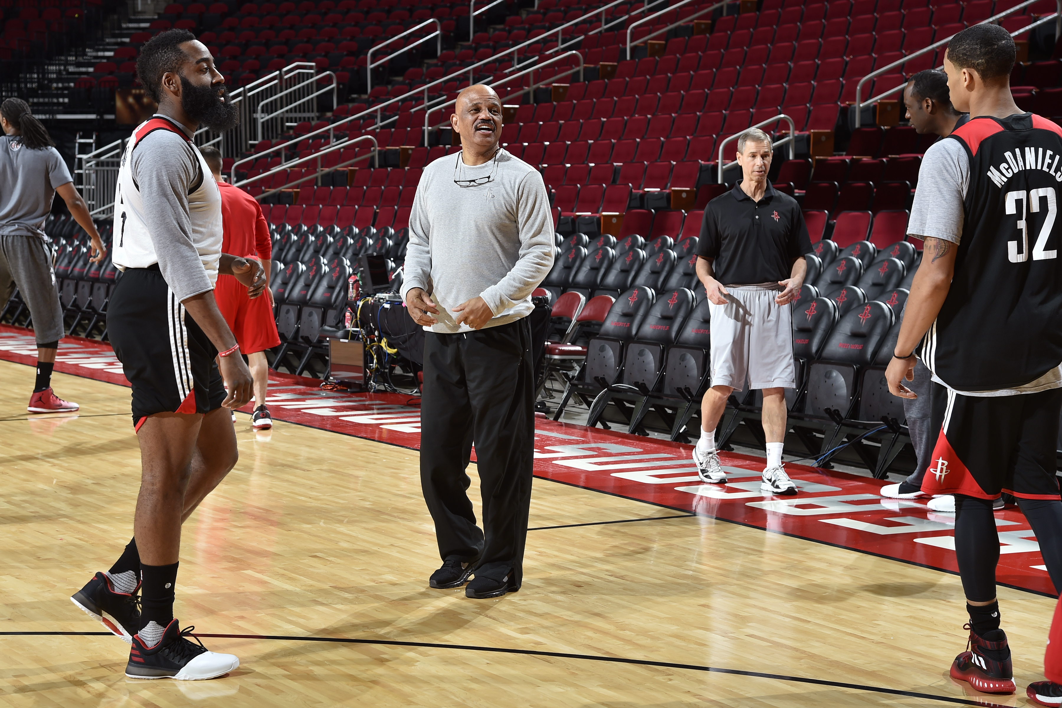 competitive price df37e 96750 John Lucas, center, of the Houston Rockets coaches during an all-access  practice Feb. 2 at the Toyota Center in Houston.